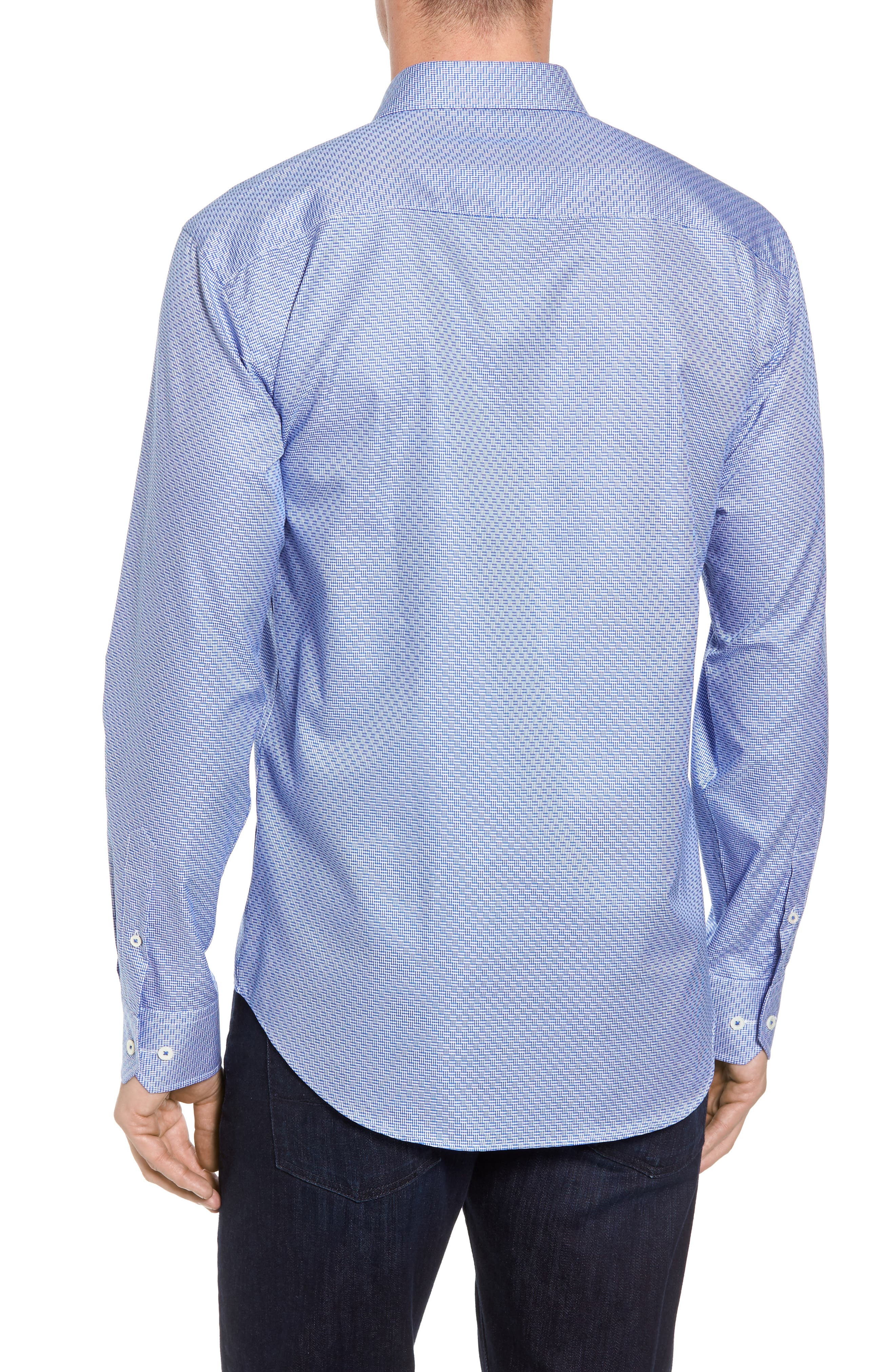 Shaped Fit Sport Shirt,                             Alternate thumbnail 3, color,                             Classic Blue
