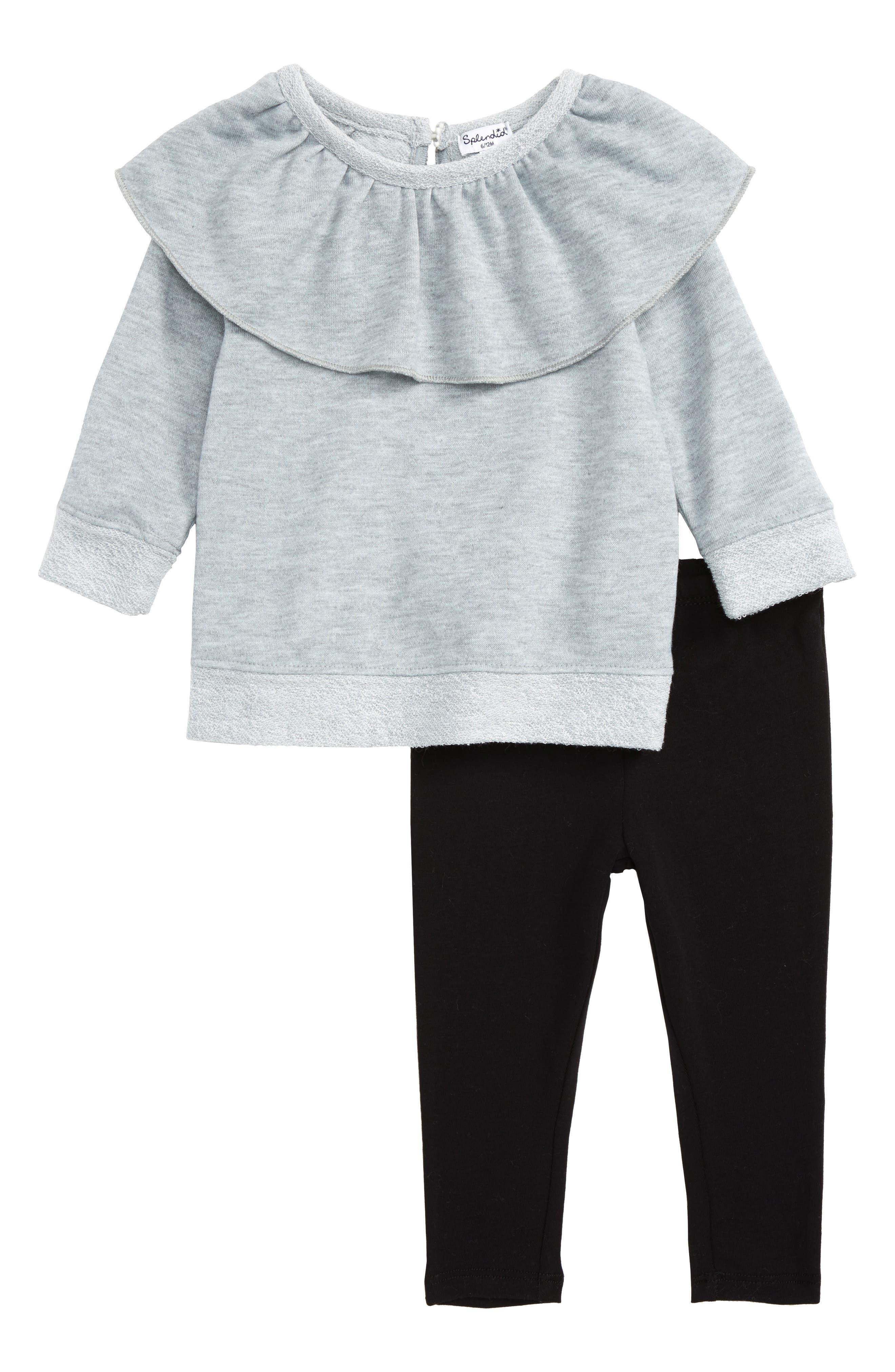 Ruffle Sweatshirt & Leggings Set,                         Main,                         color, Dark Grey