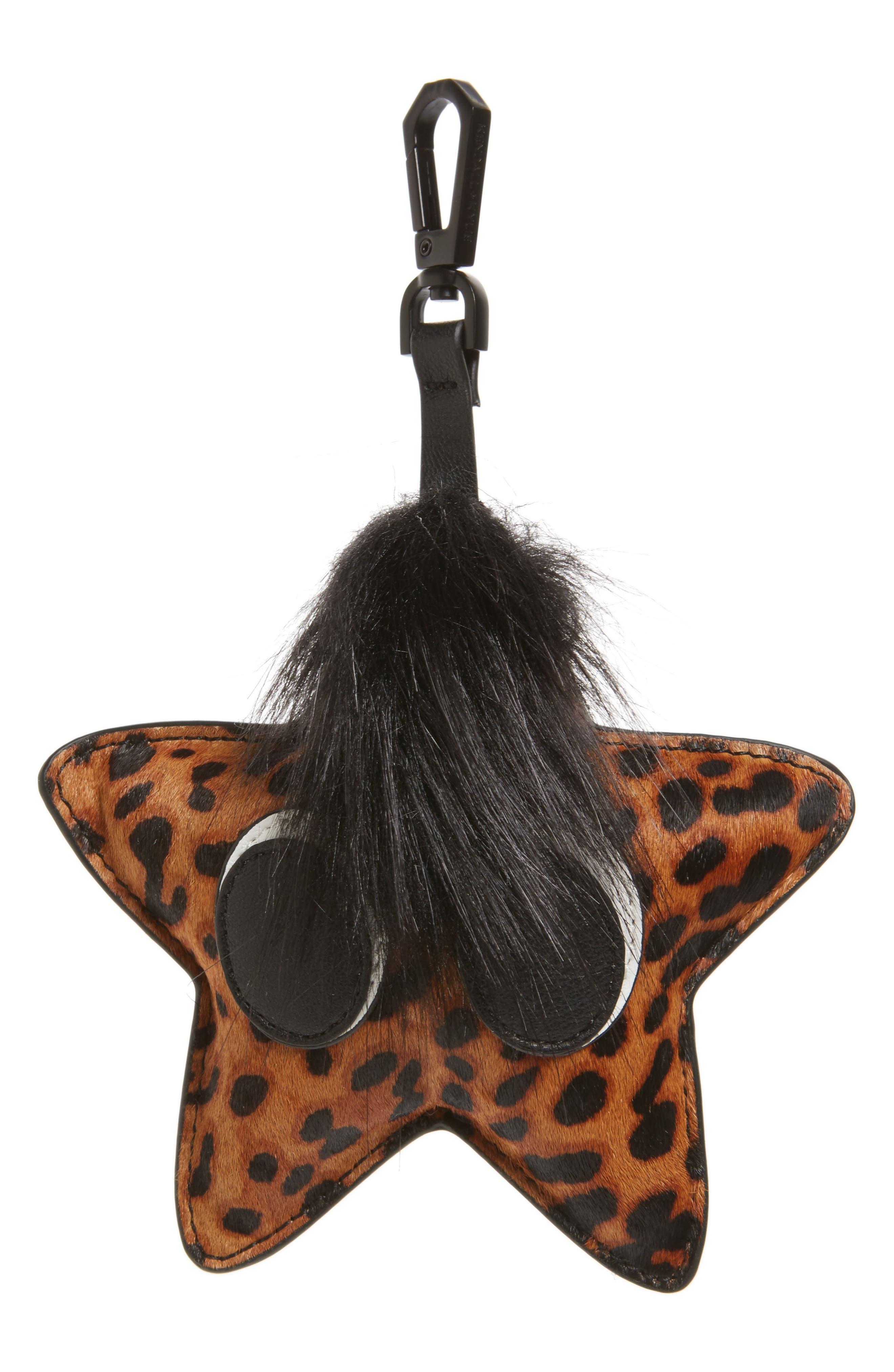 KENDALL + KYLIE Starboy Faux Fur & Genuine Calf Hair Bag Charm