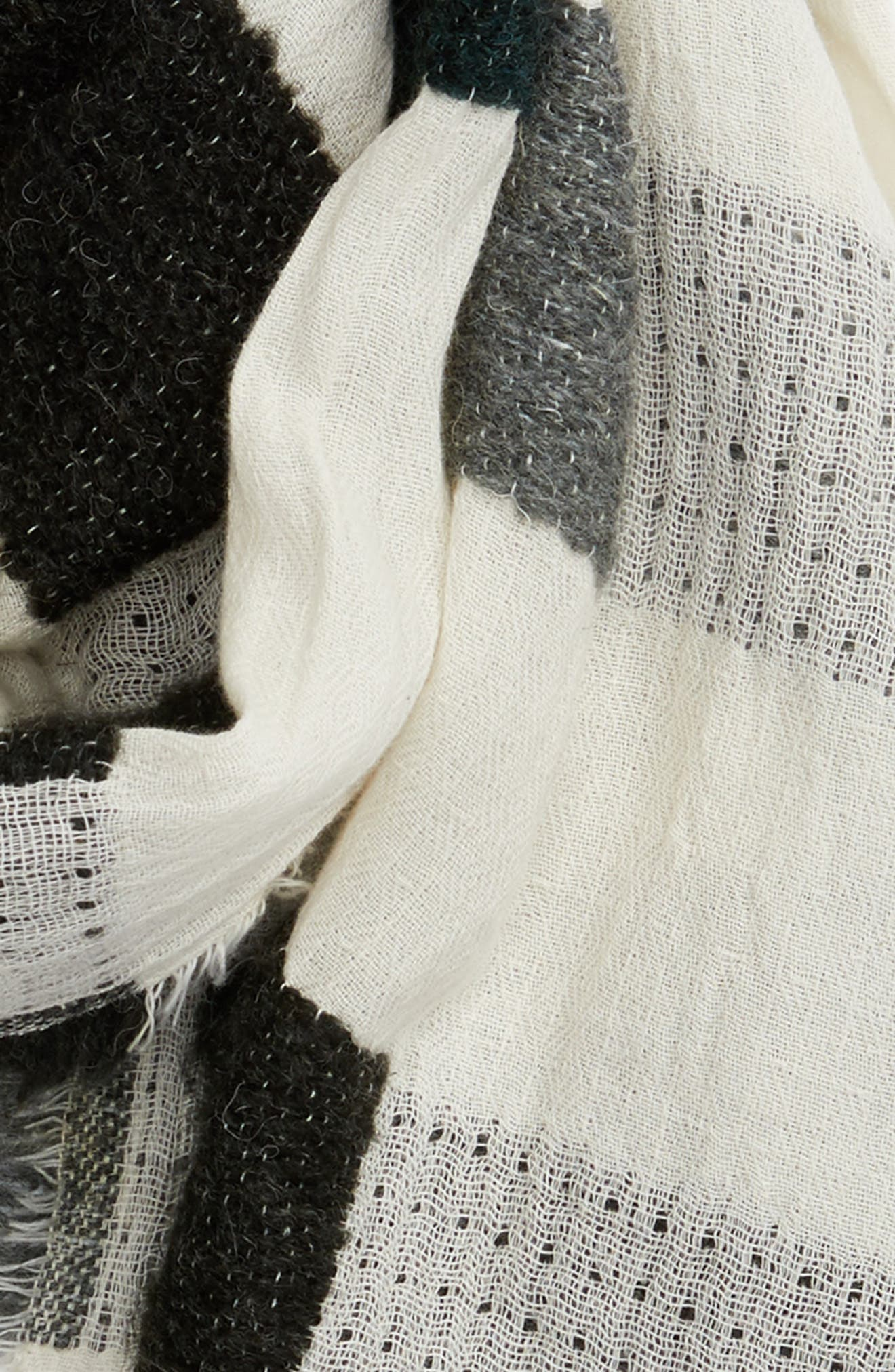 Textured Jacquard Scarf,                             Alternate thumbnail 3, color,                             Ivory Combo