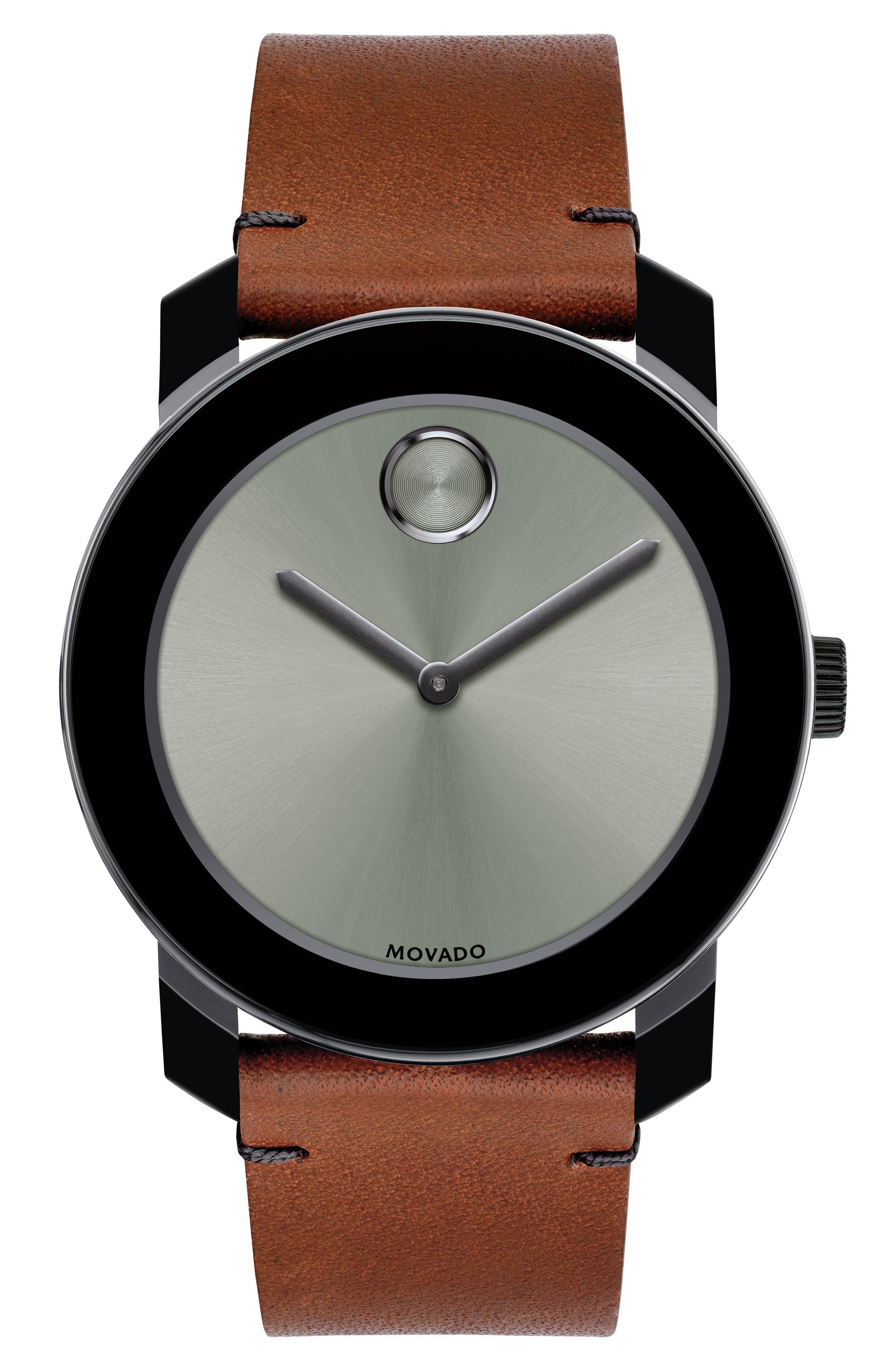 Bold Leather Strap Watch, 42mm,                             Main thumbnail 1, color,                             Cognac/ Grey/ Black