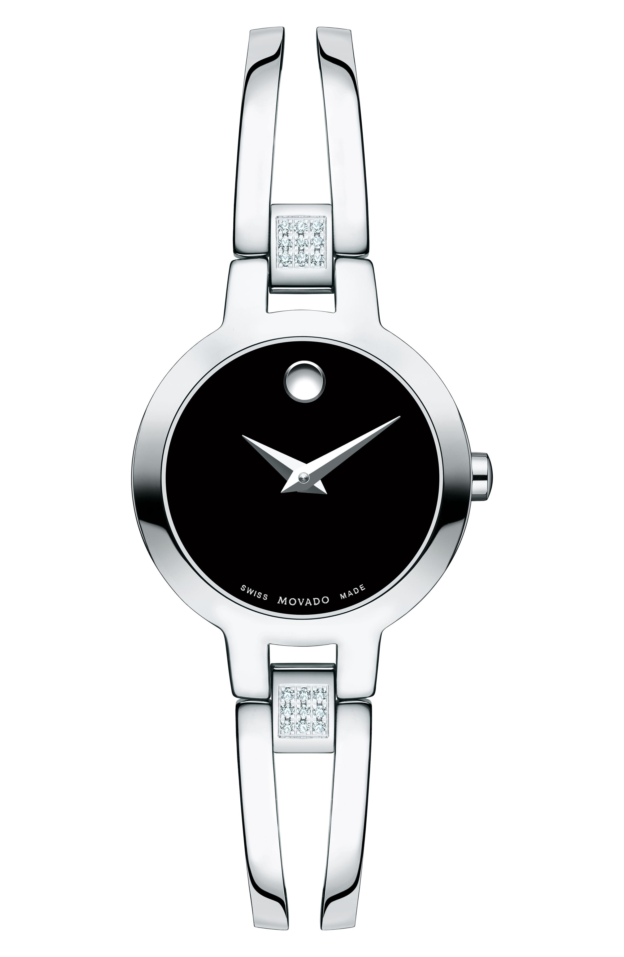 Amorosa Diamond Bangle Watch, 24mm,                             Main thumbnail 1, color,                             Silver/ Black/ Silver