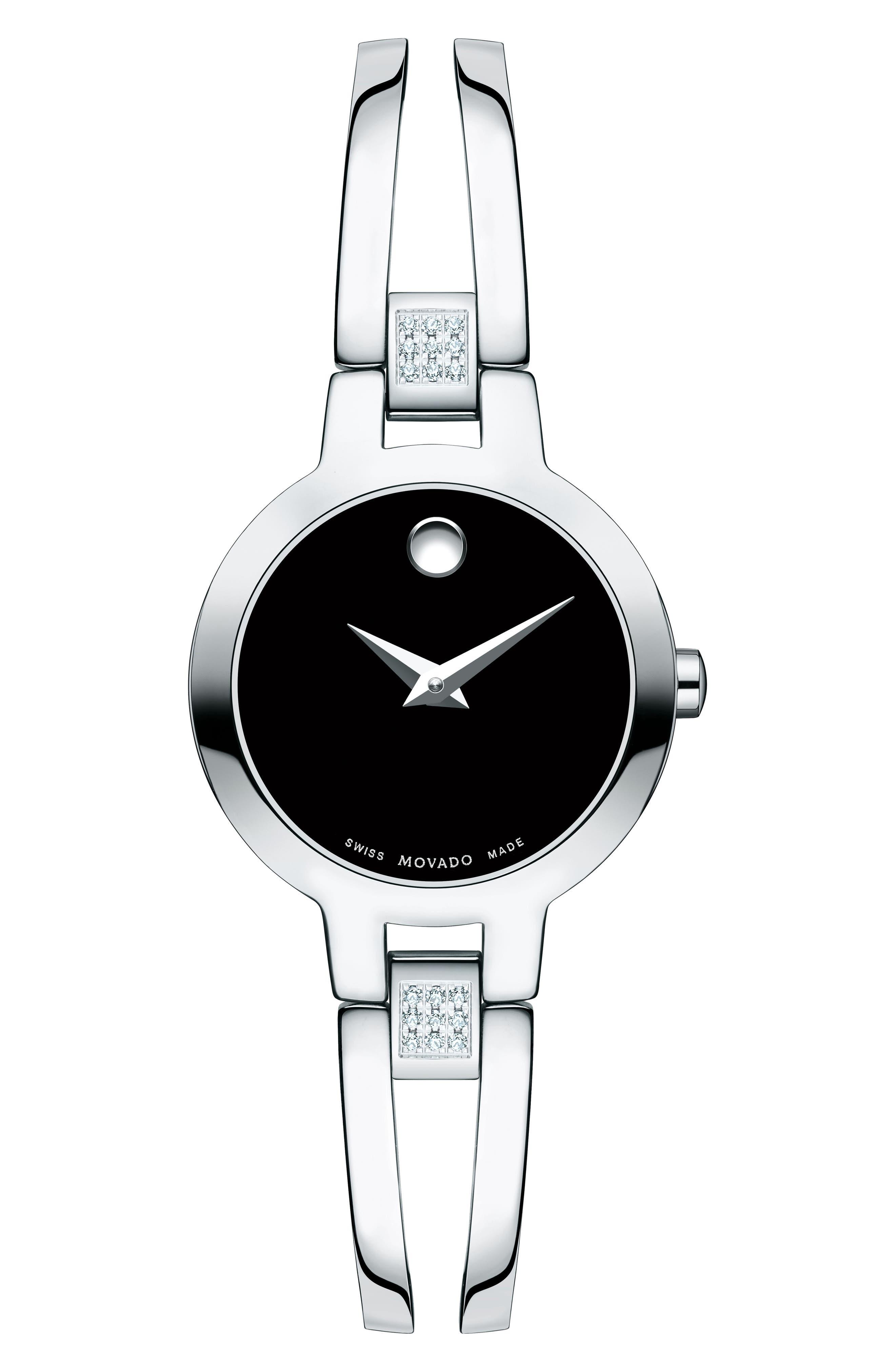 Amorosa Diamond Bangle Watch, 24mm,                         Main,                         color, Silver/ Black/ Silver