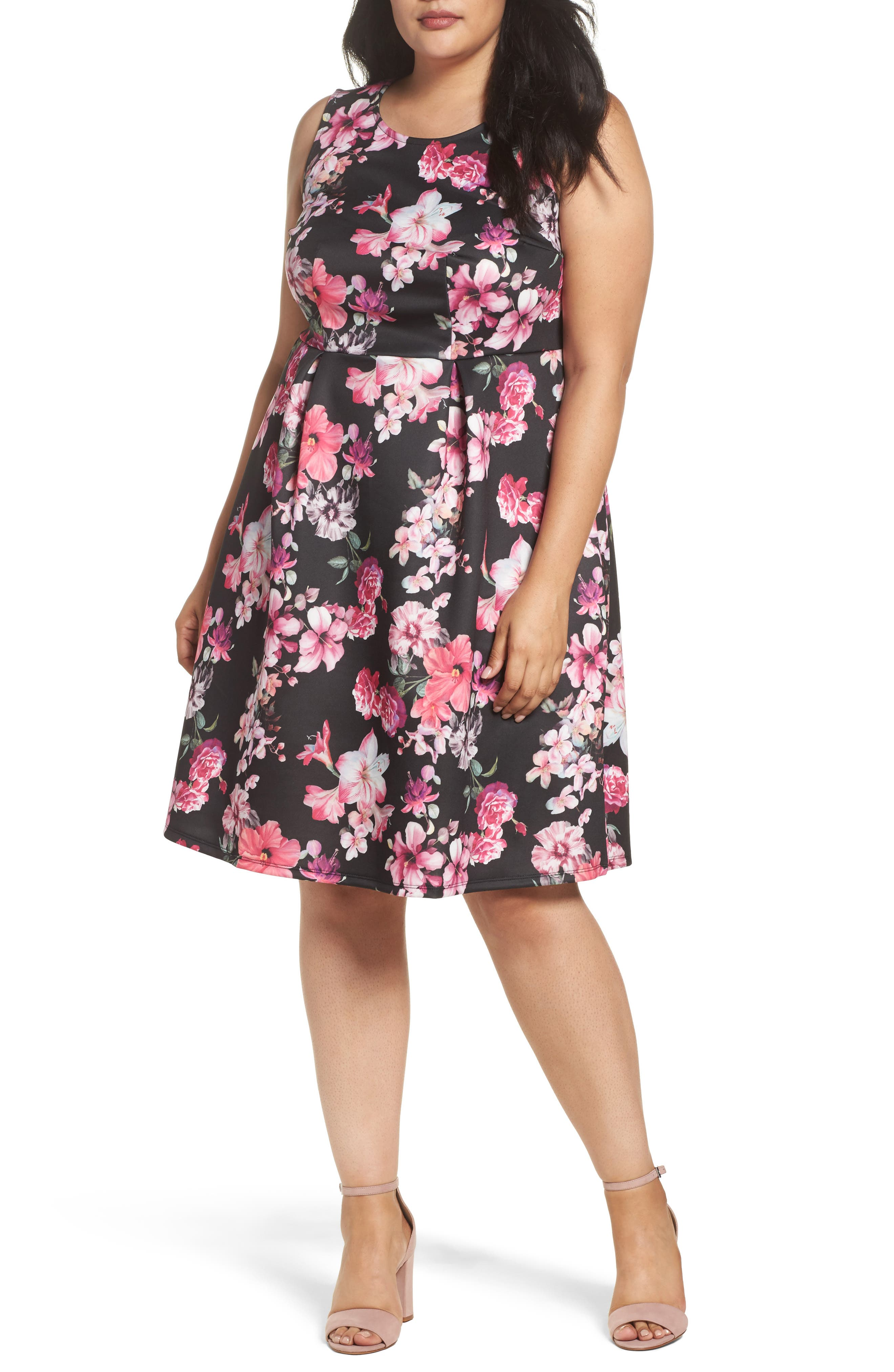 Floral Print Sleeveless Dress,                         Main,                         color, Red