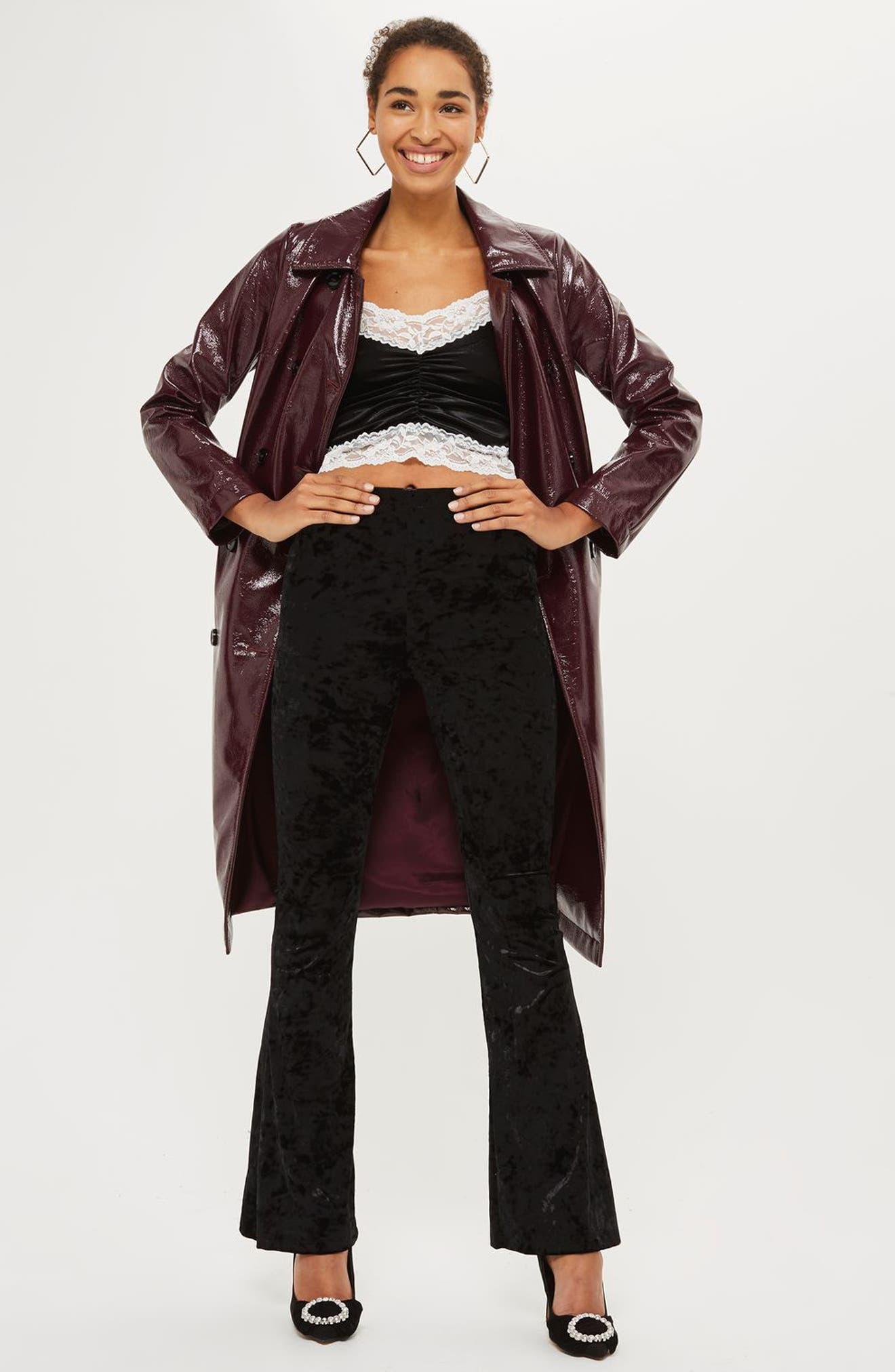 Lace Trim Velvet Camisole,                             Alternate thumbnail 2, color,                             Black Multi