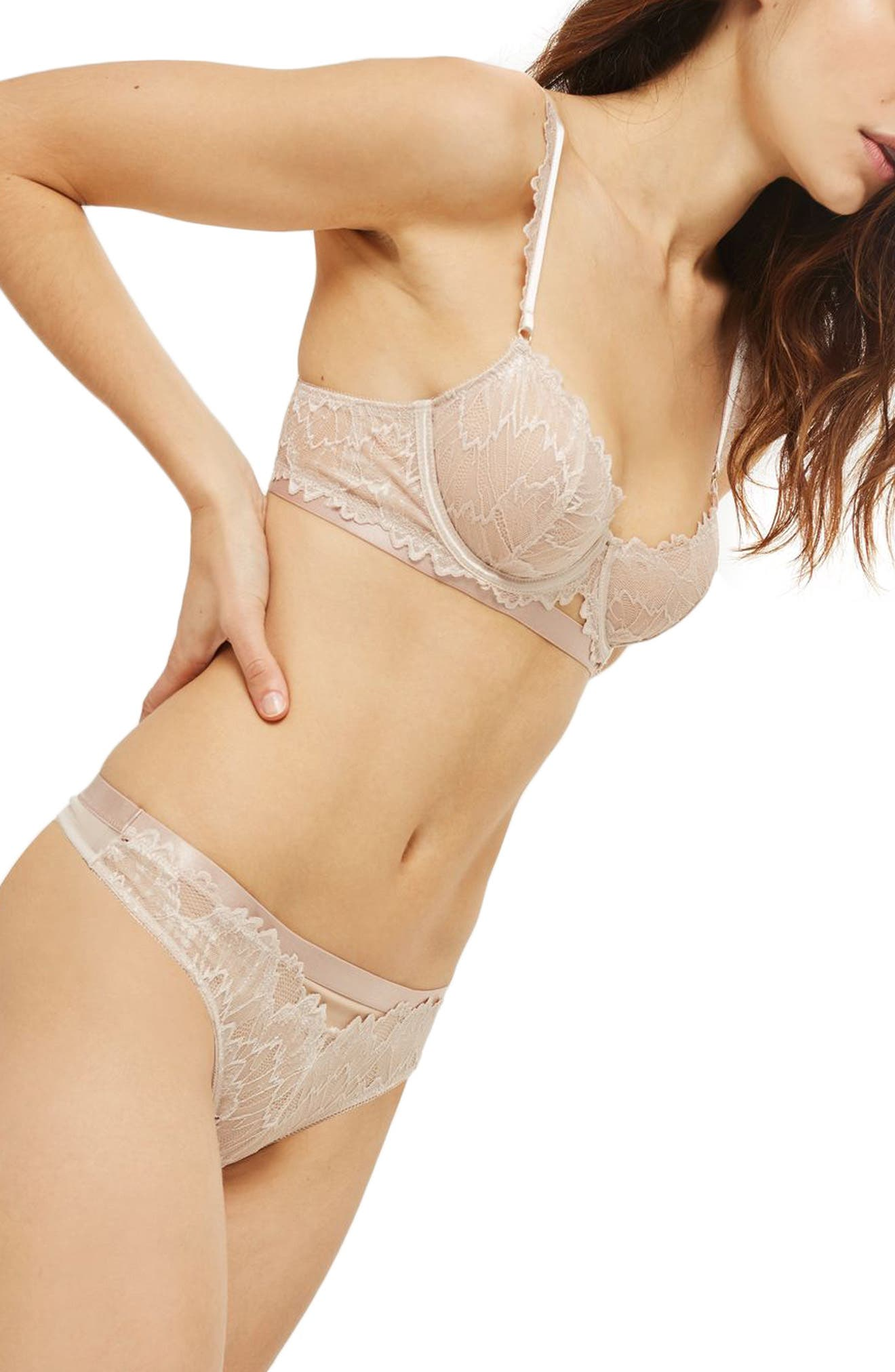 Verena Lace Thong,                             Alternate thumbnail 4, color,                             Cream