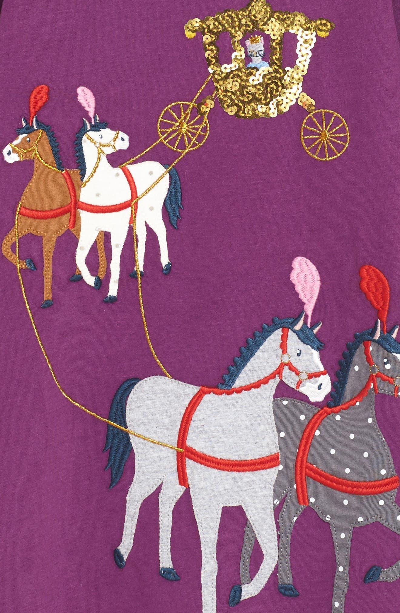 Fairytale Appliqué Dress,                             Alternate thumbnail 3, color,                             Blackcurrant Purple Horses Prp