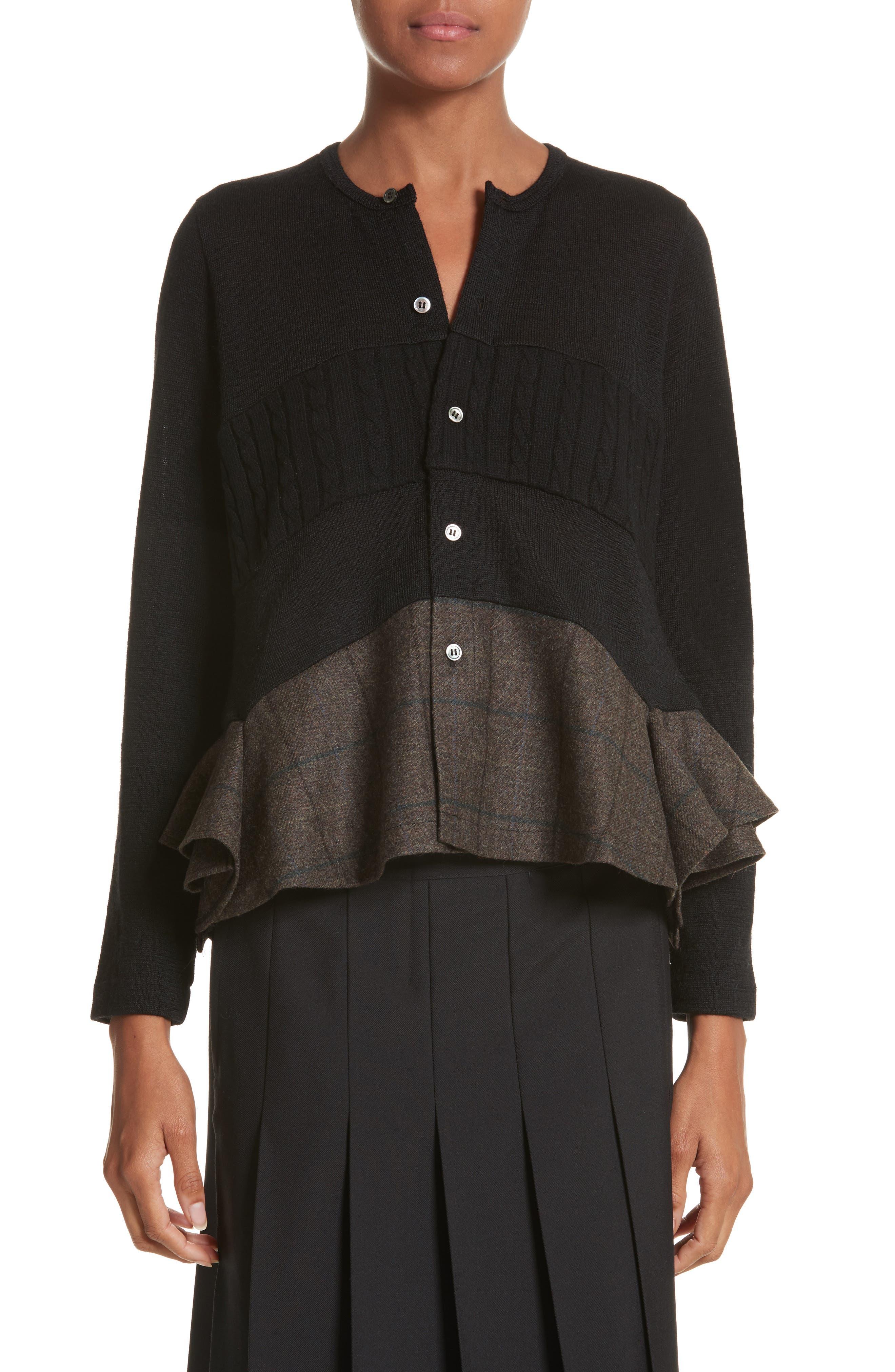Mixed Media Button Cardigan,                         Main,                         color, Black