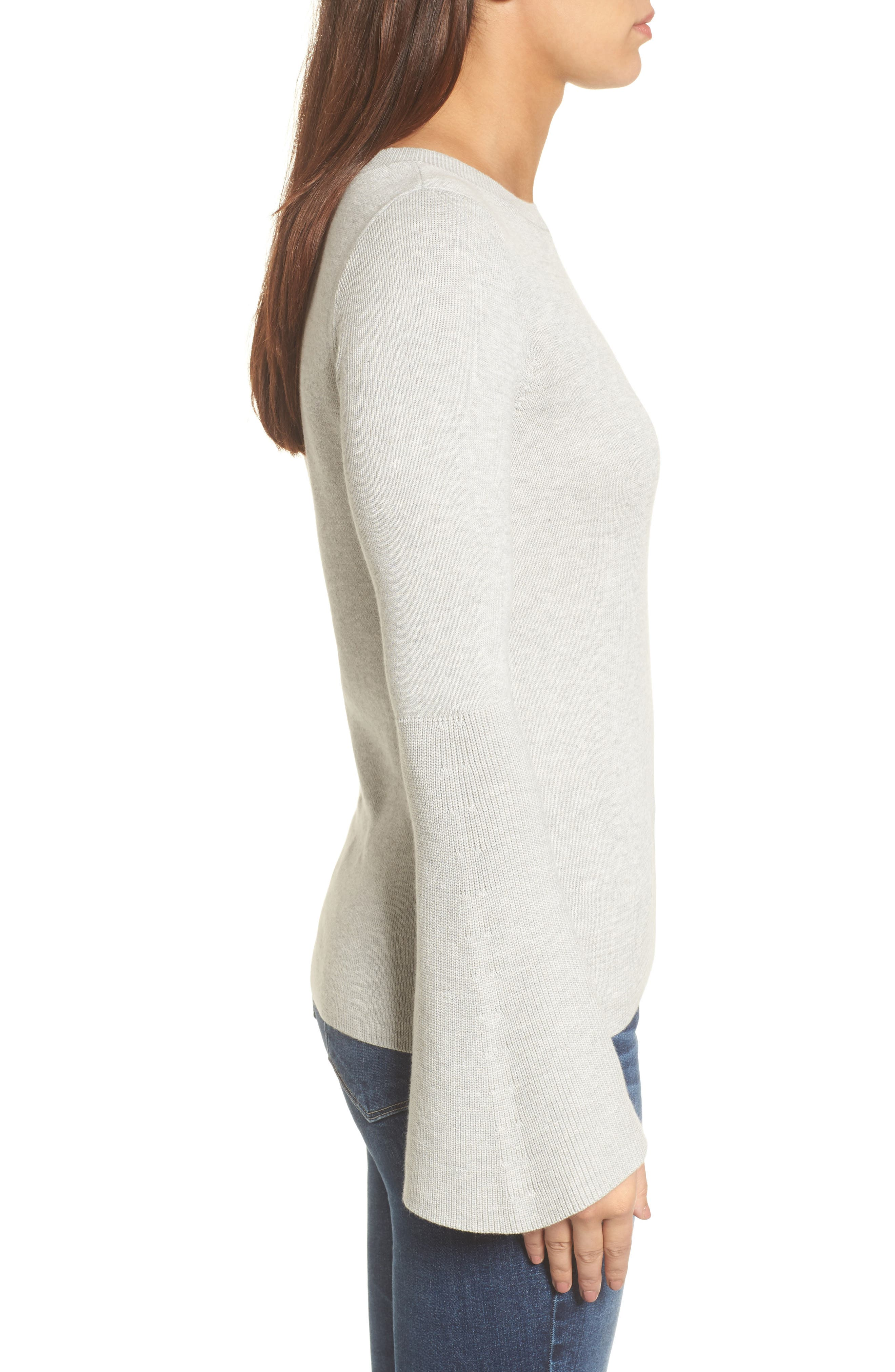 Bell Sleeve Rib Sweater,                             Alternate thumbnail 3, color,                             Grey Light Heather