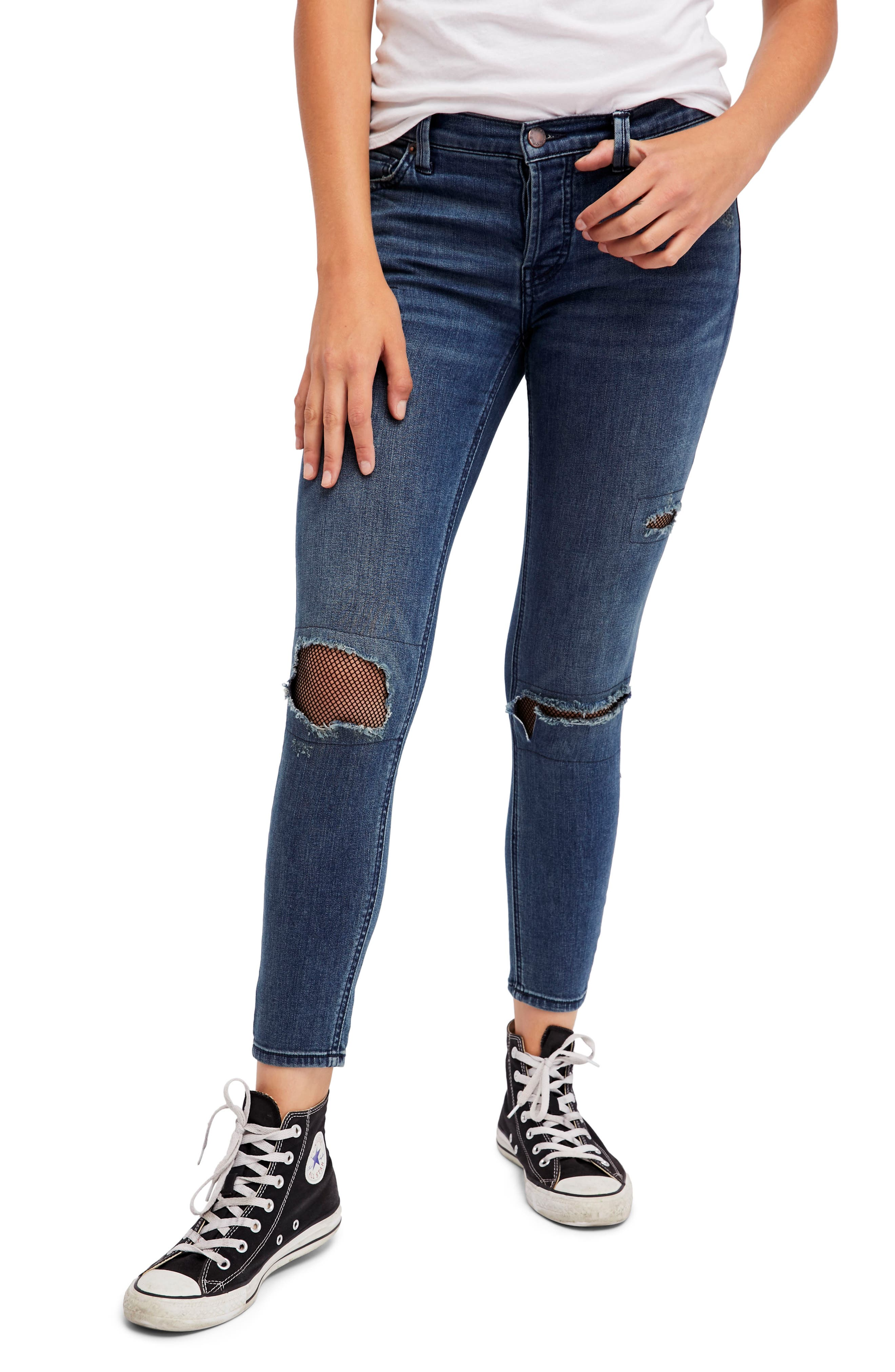 Fishnet Skinny Jeans,                         Main,                         color, Blue