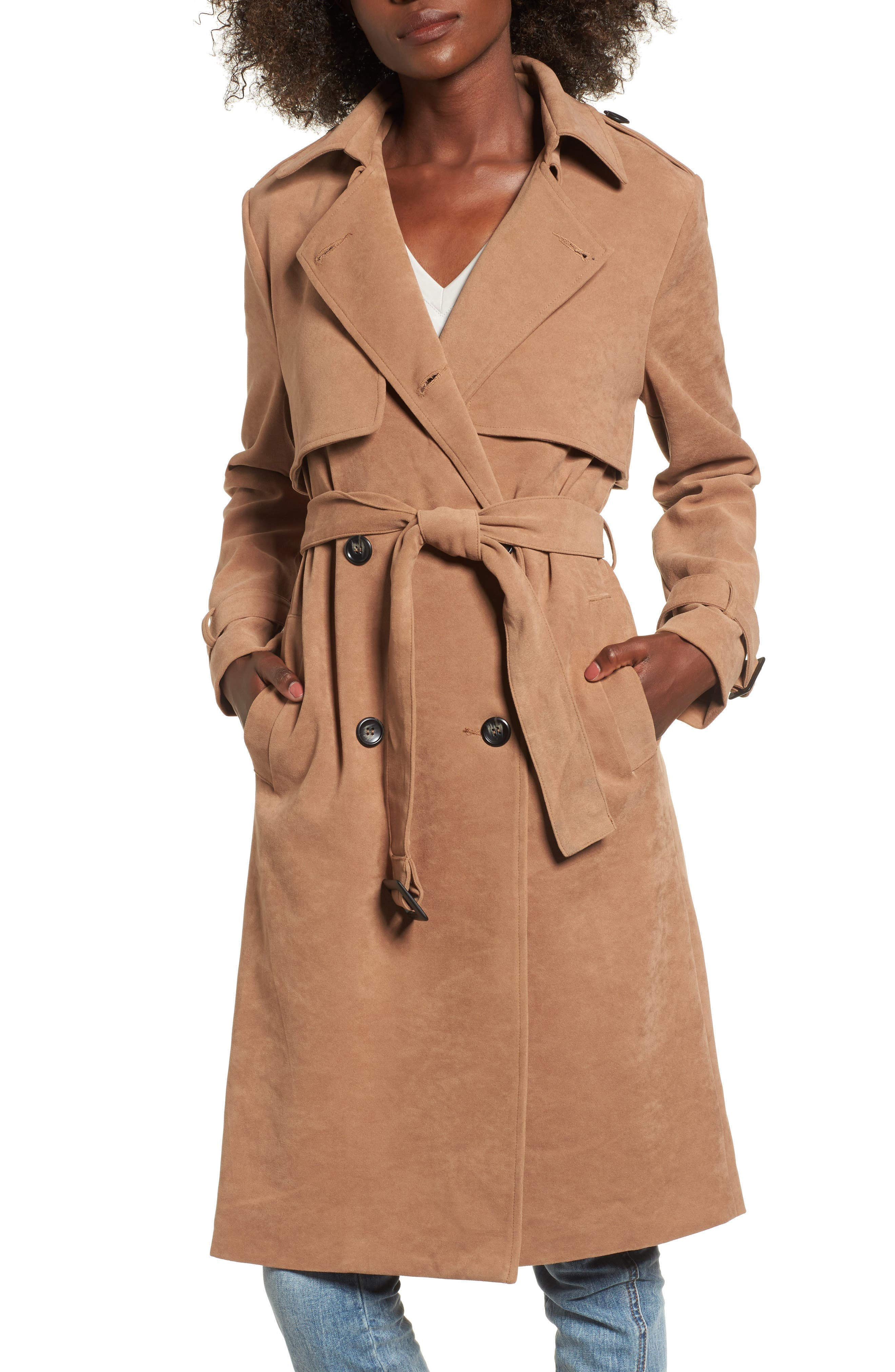 Double-Breasted Trench Coat,                             Main thumbnail 1, color,                             Taupe