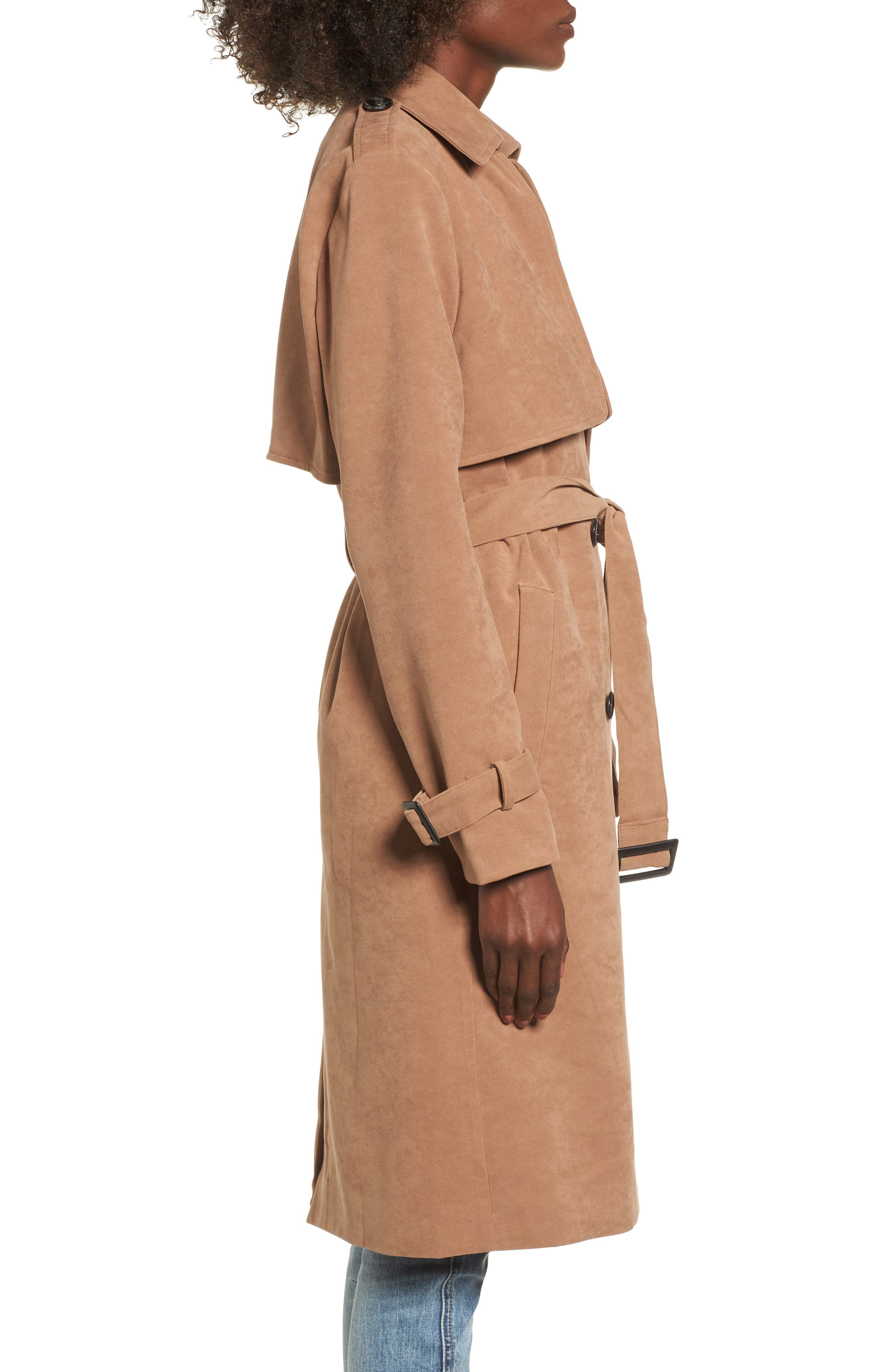 Double-Breasted Trench Coat,                             Alternate thumbnail 3, color,                             Taupe