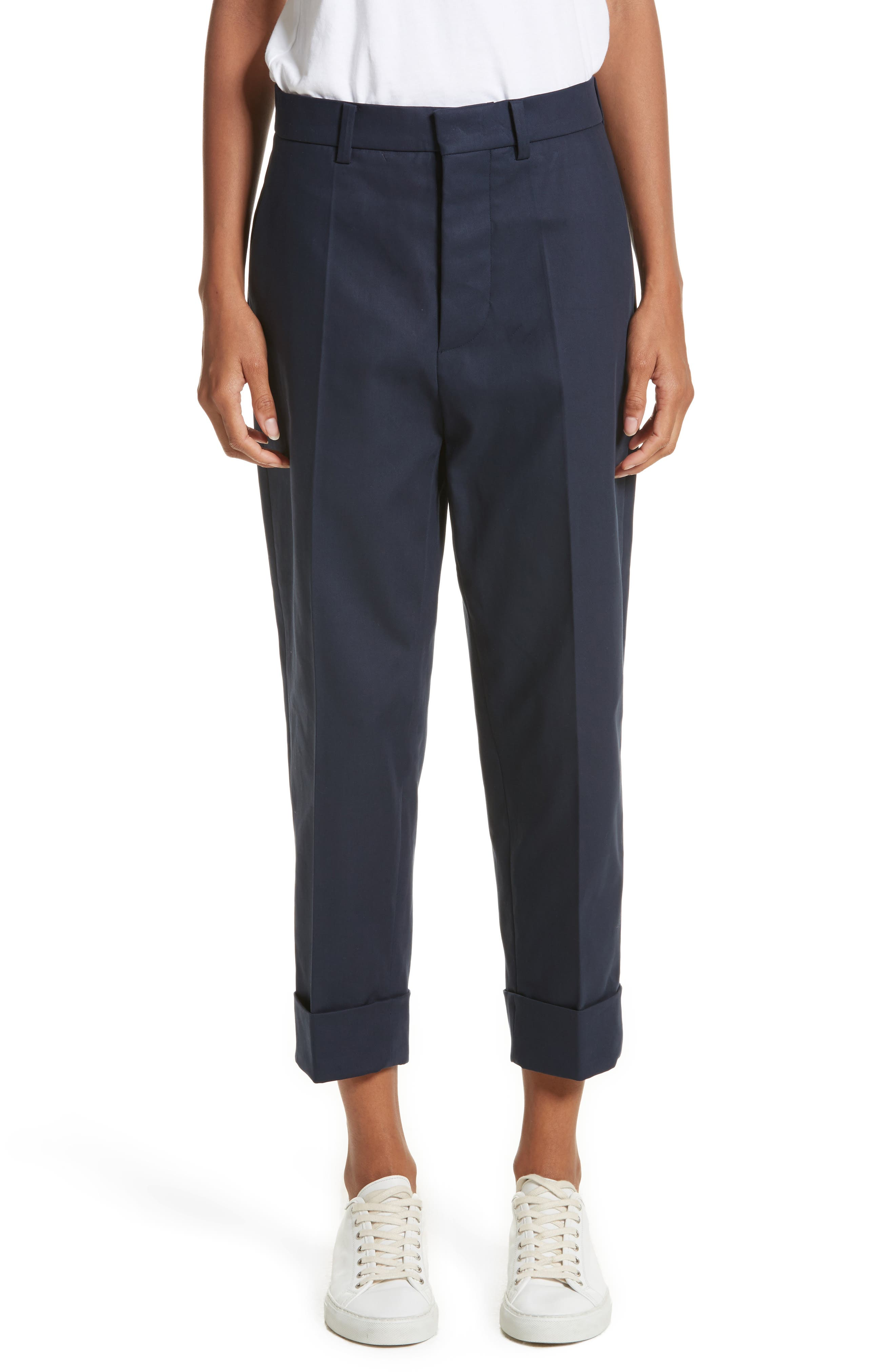 Cuffed Crop Pants,                         Main,                         color, Navy Blue