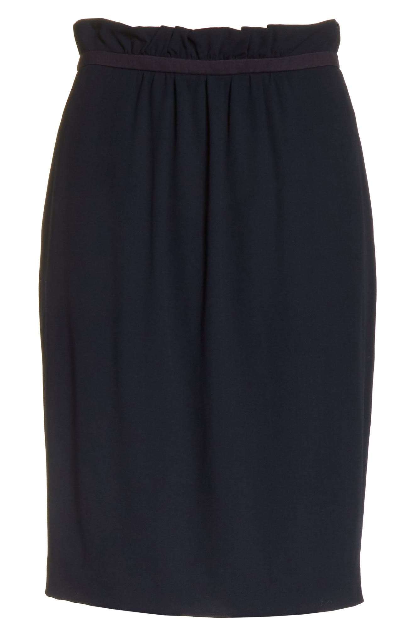 Stretch Wool Crepe Skirt,                             Alternate thumbnail 6, color,                             Navy