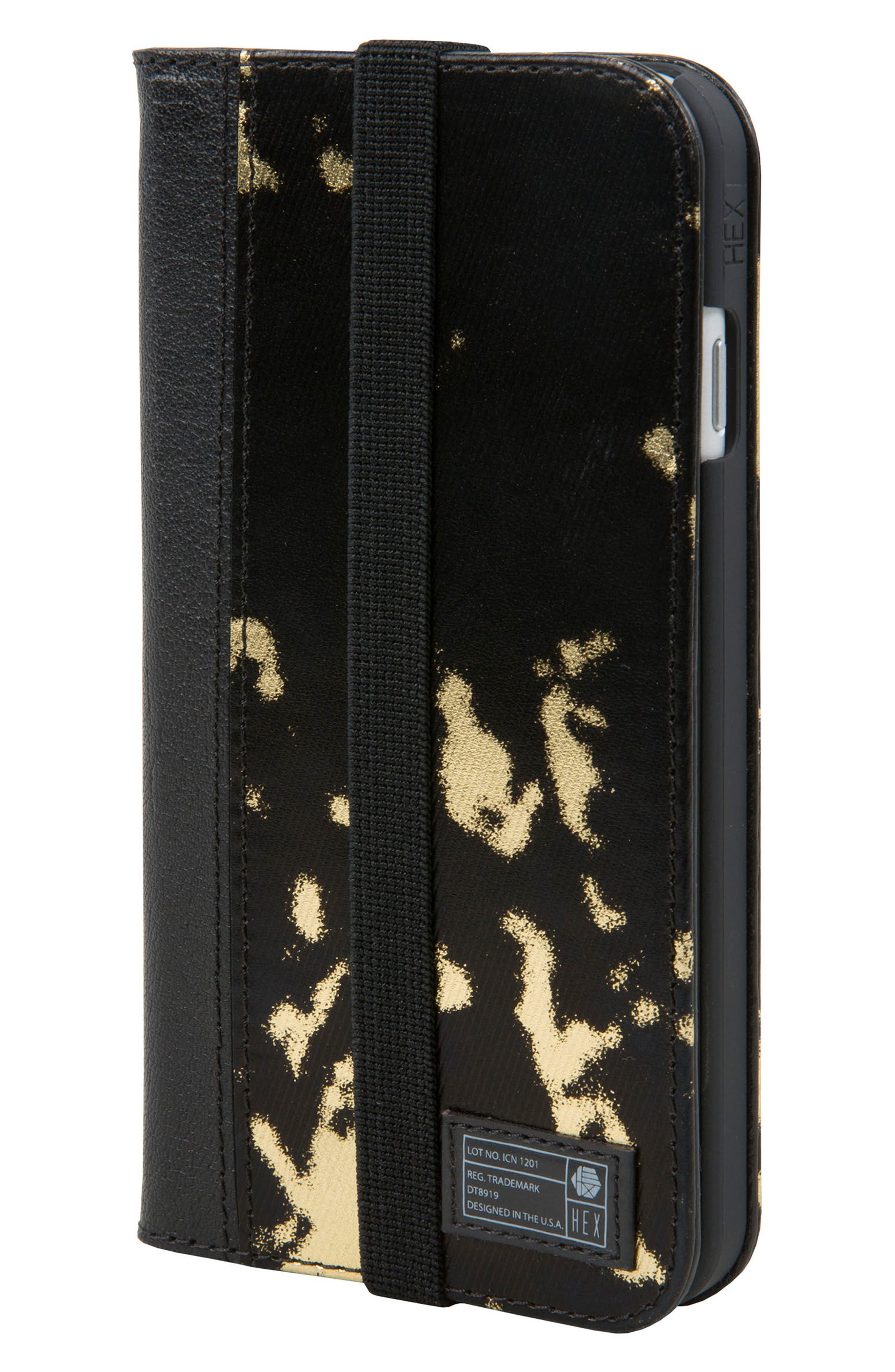 Icon iPhone 6/6s/7/8 Wallet Case,                         Main,                         color, Black/ Gold