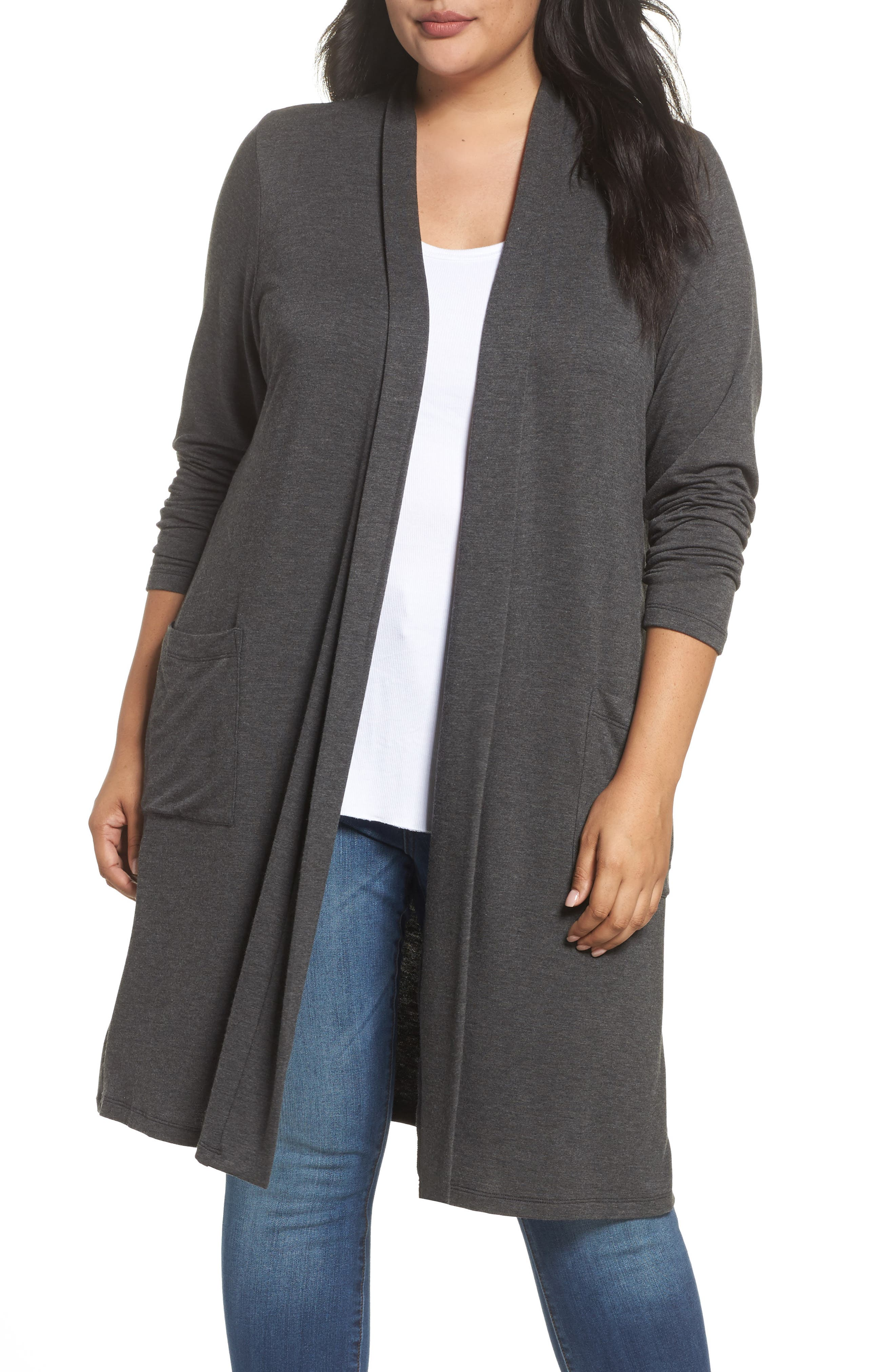 Two-Pocket Stretch Cardigan,                             Main thumbnail 1, color,                             Heather Charcoal