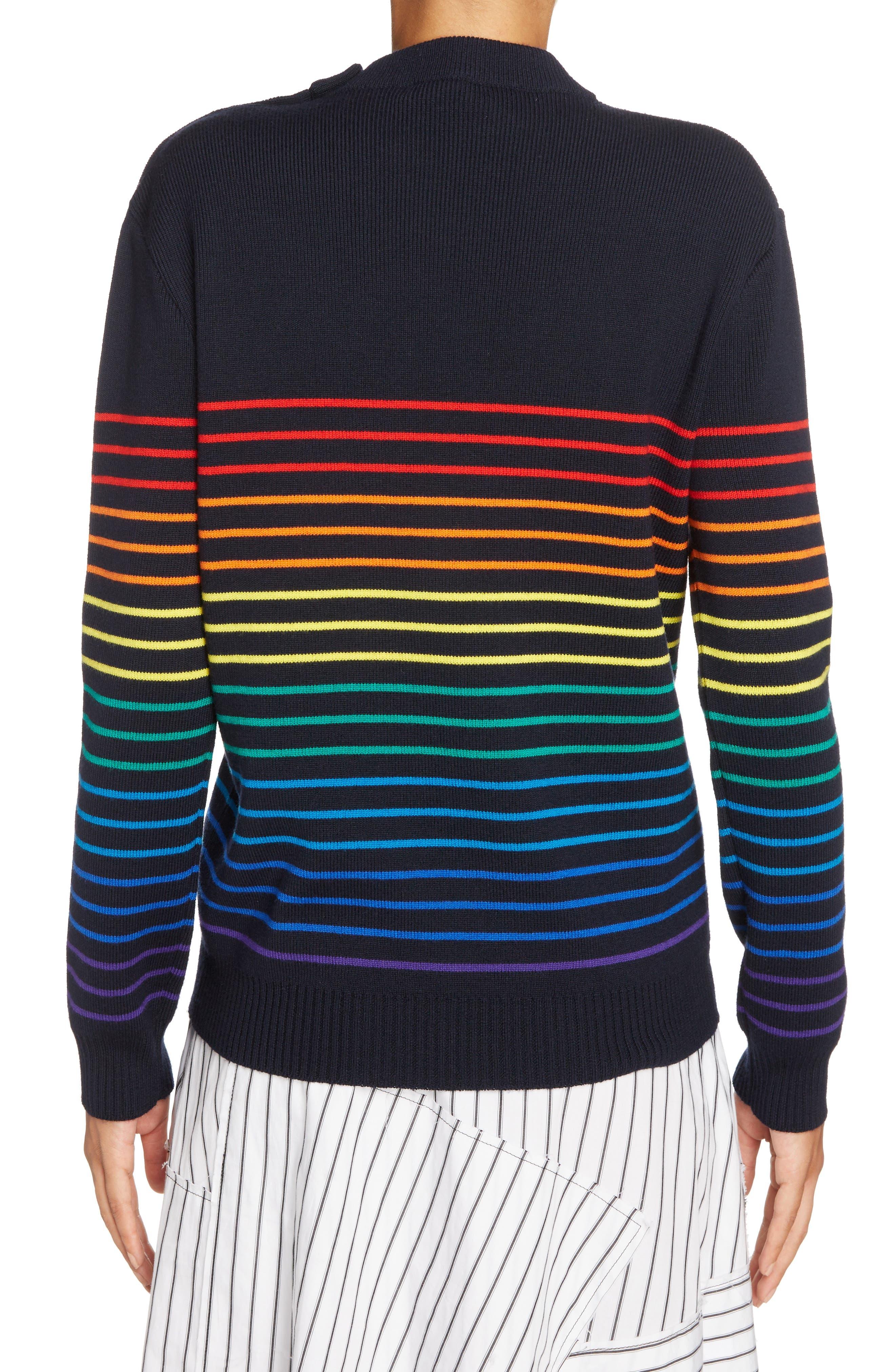 Marinière Stripe Wool Sweater,                             Alternate thumbnail 3, color,                             Navy Multi