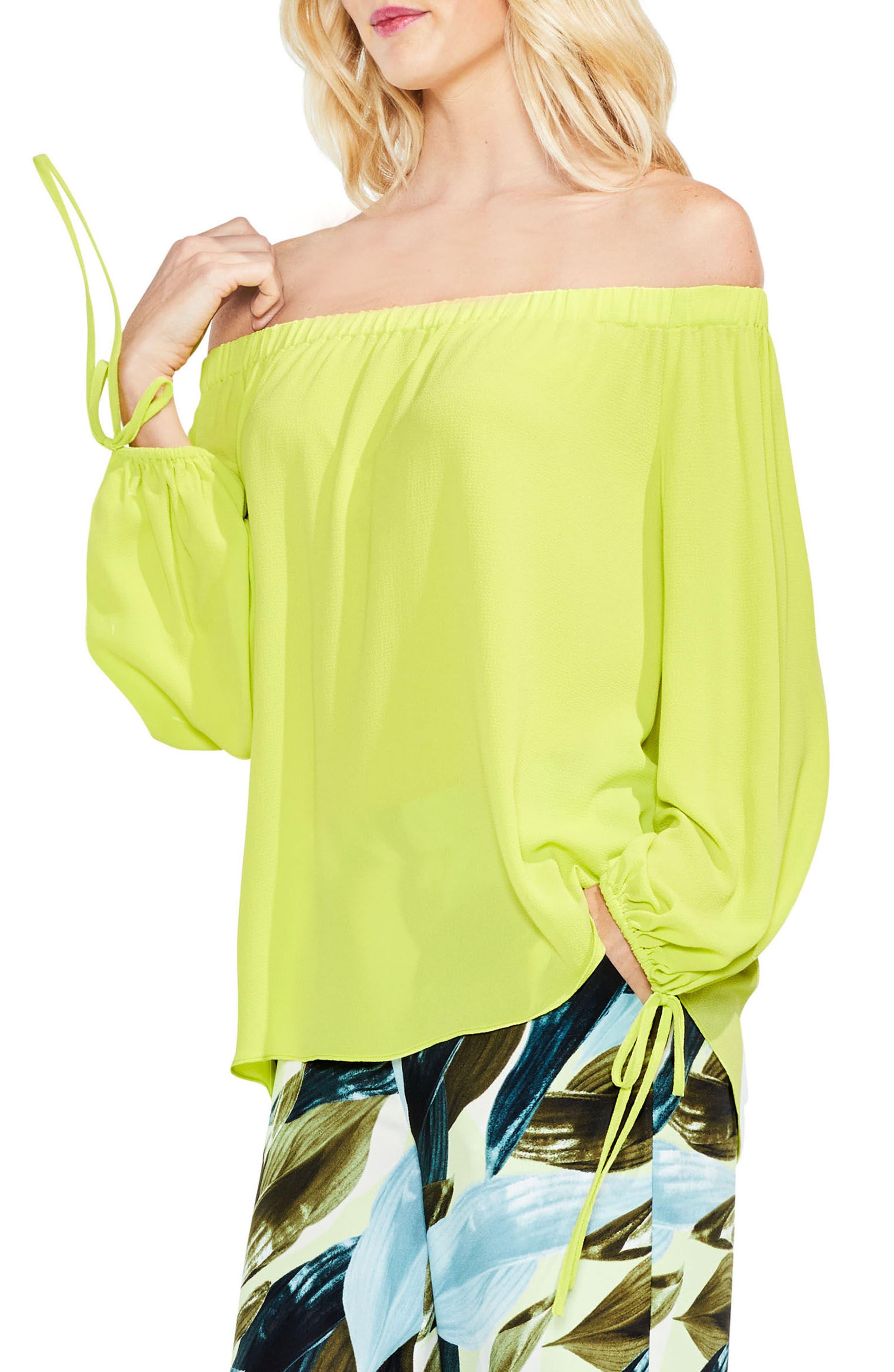 Tie-Cuff Off the Shoulder Blouse,                         Main,                         color, Lime Breeze