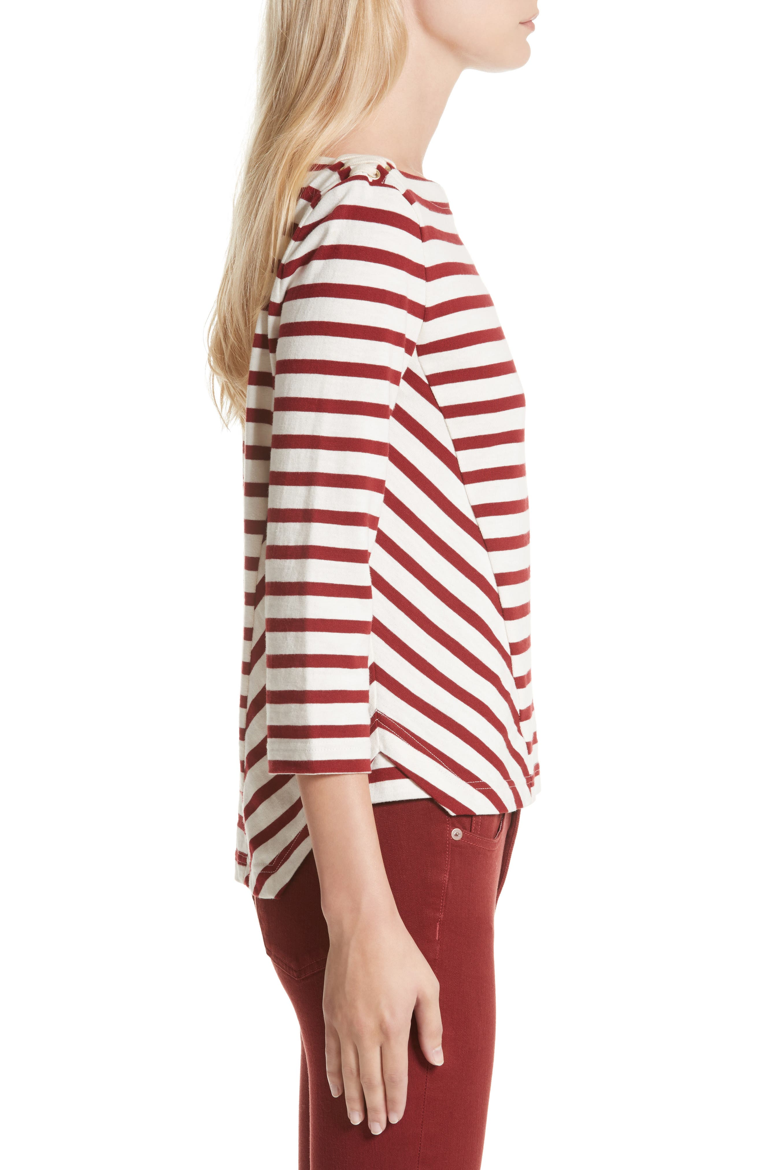 Lincoln Mariner Top,                             Alternate thumbnail 3, color,                             Ecru/ Red