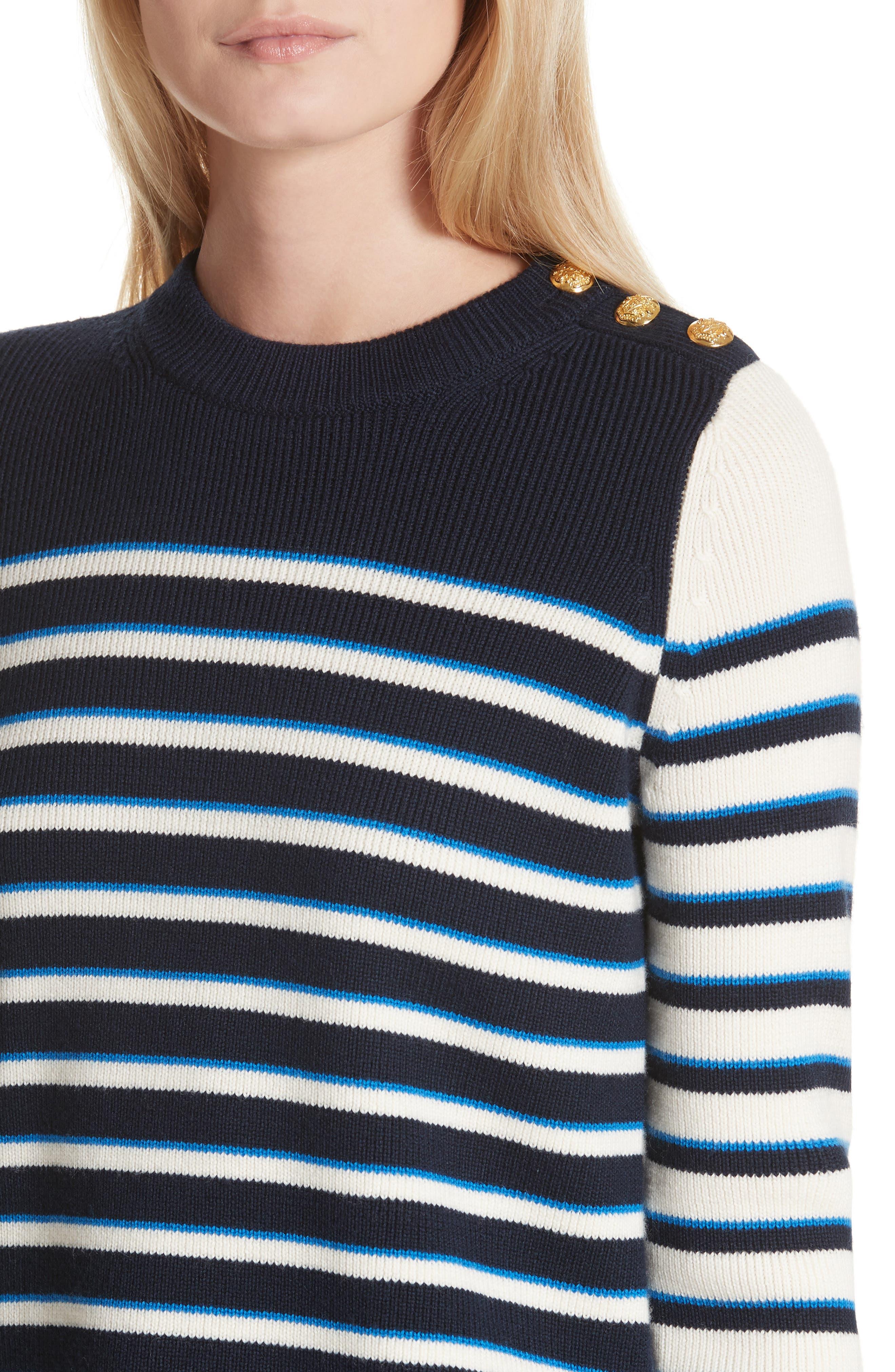 Amos Stripe Merino Wool Sweater,                             Alternate thumbnail 4, color,                             Navy/ Ivory/ Blue