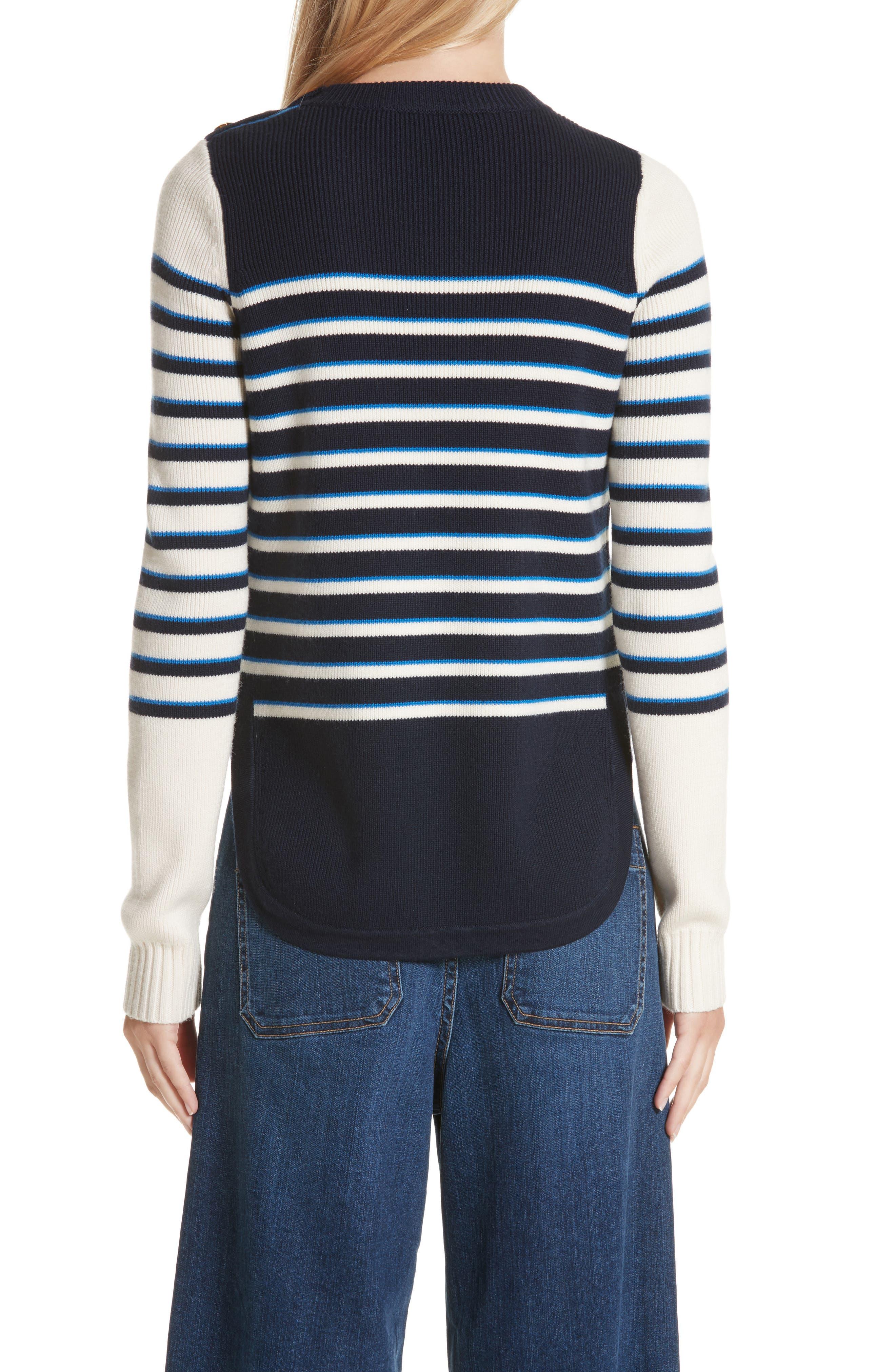 Amos Stripe Merino Wool Sweater,                             Alternate thumbnail 2, color,                             Navy/ Ivory/ Blue