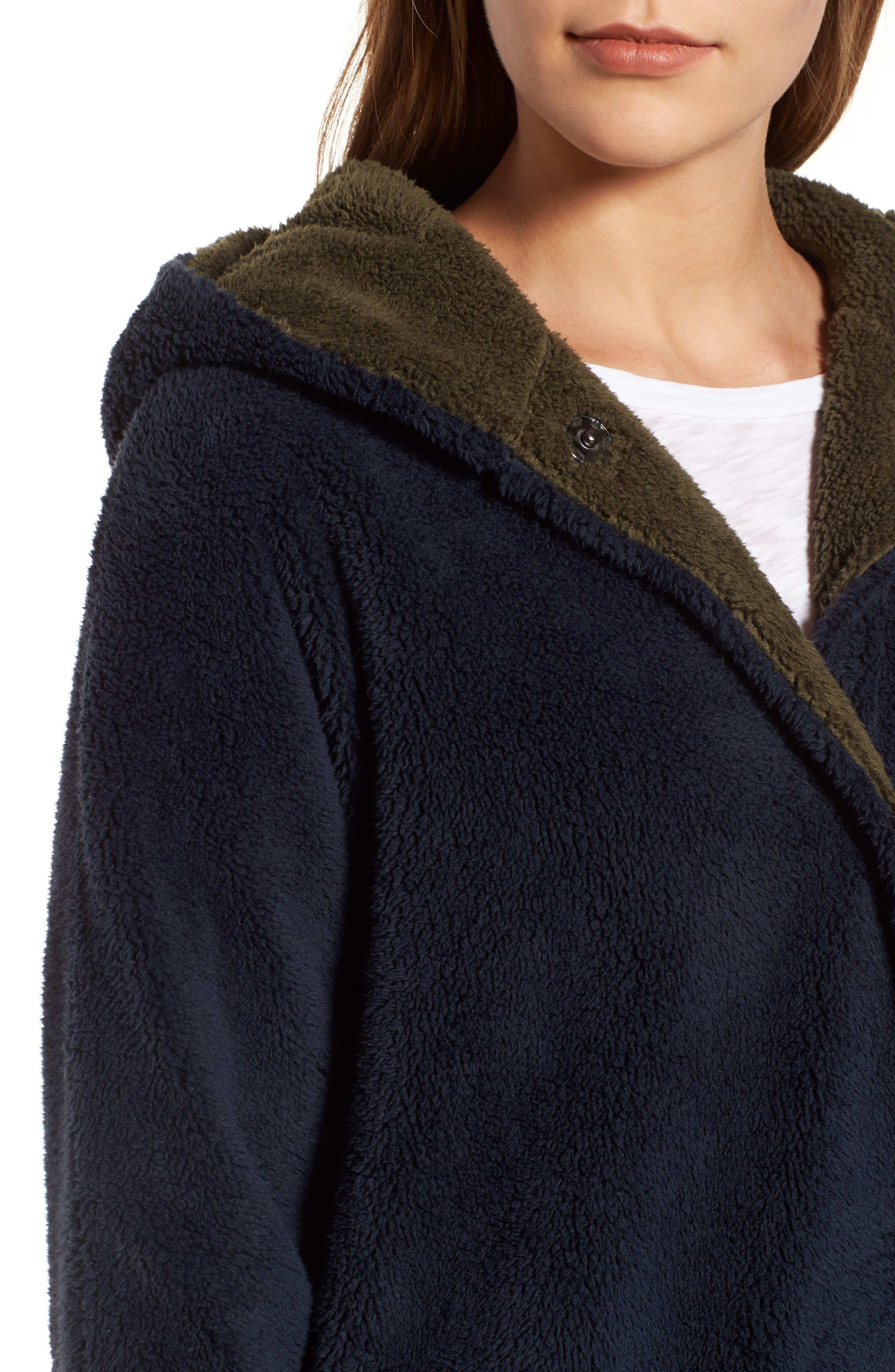 Hooded Reversible Coat,                             Alternate thumbnail 4, color,                             Navy/ Olive