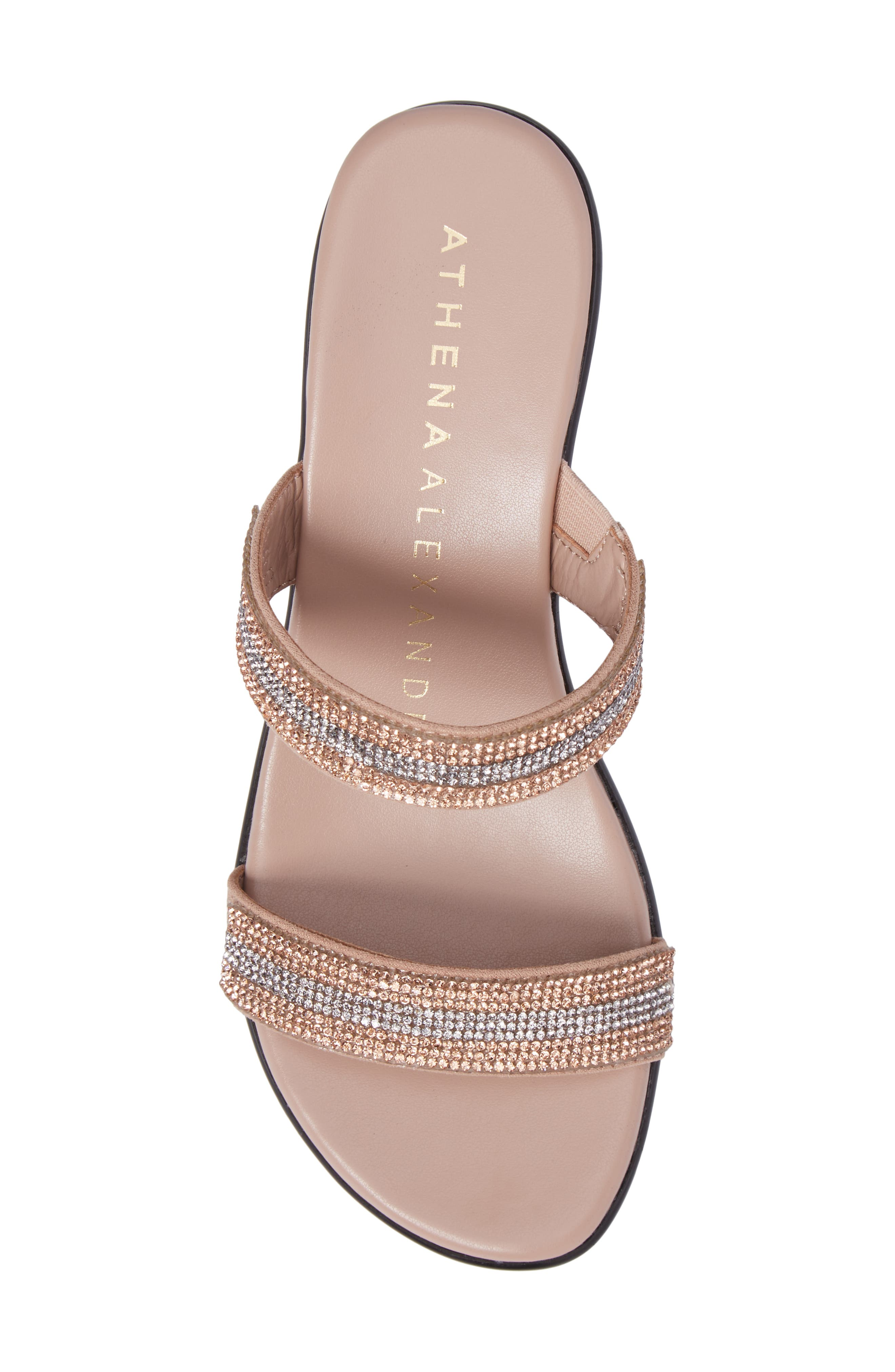 Arlo Wedge Sandal,                             Alternate thumbnail 5, color,                             Rose Gold Synthetic