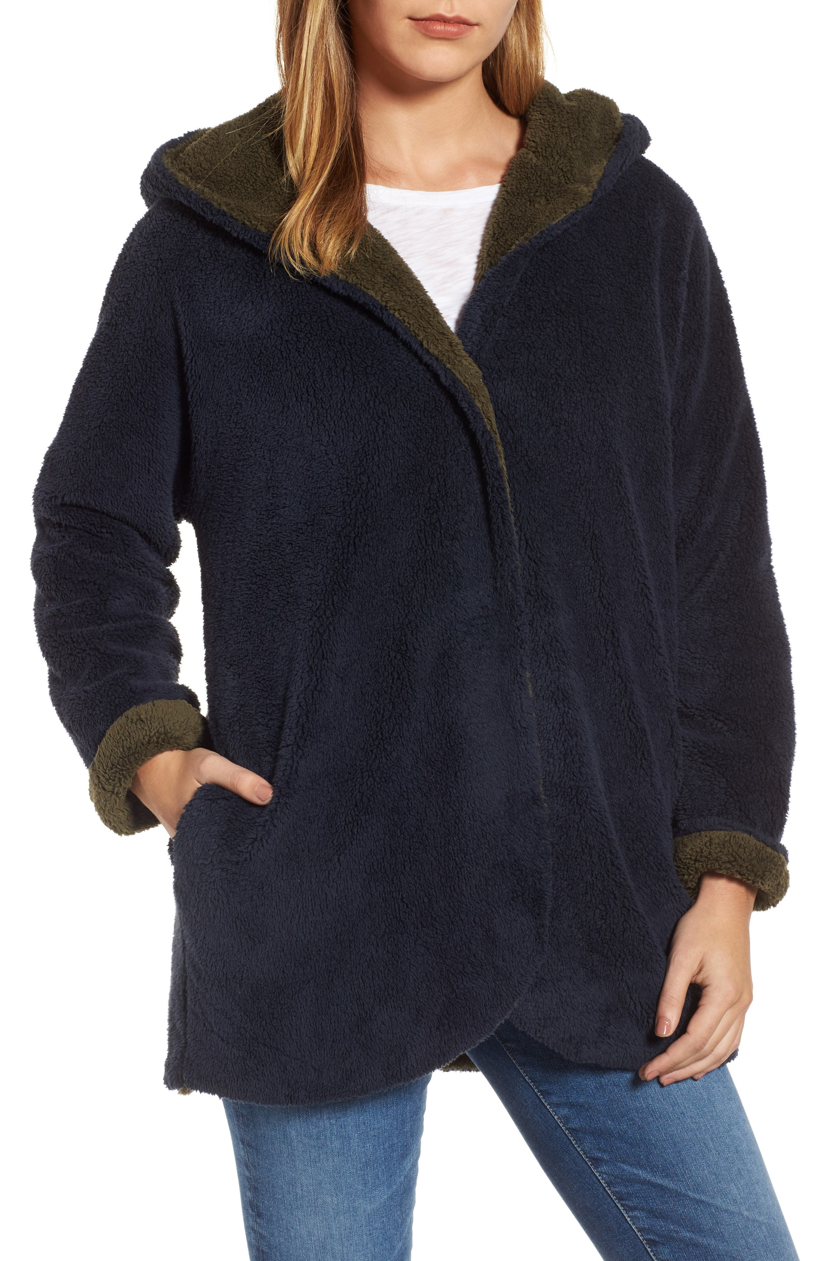 Hooded Reversible Coat,                             Main thumbnail 1, color,                             Navy/ Olive