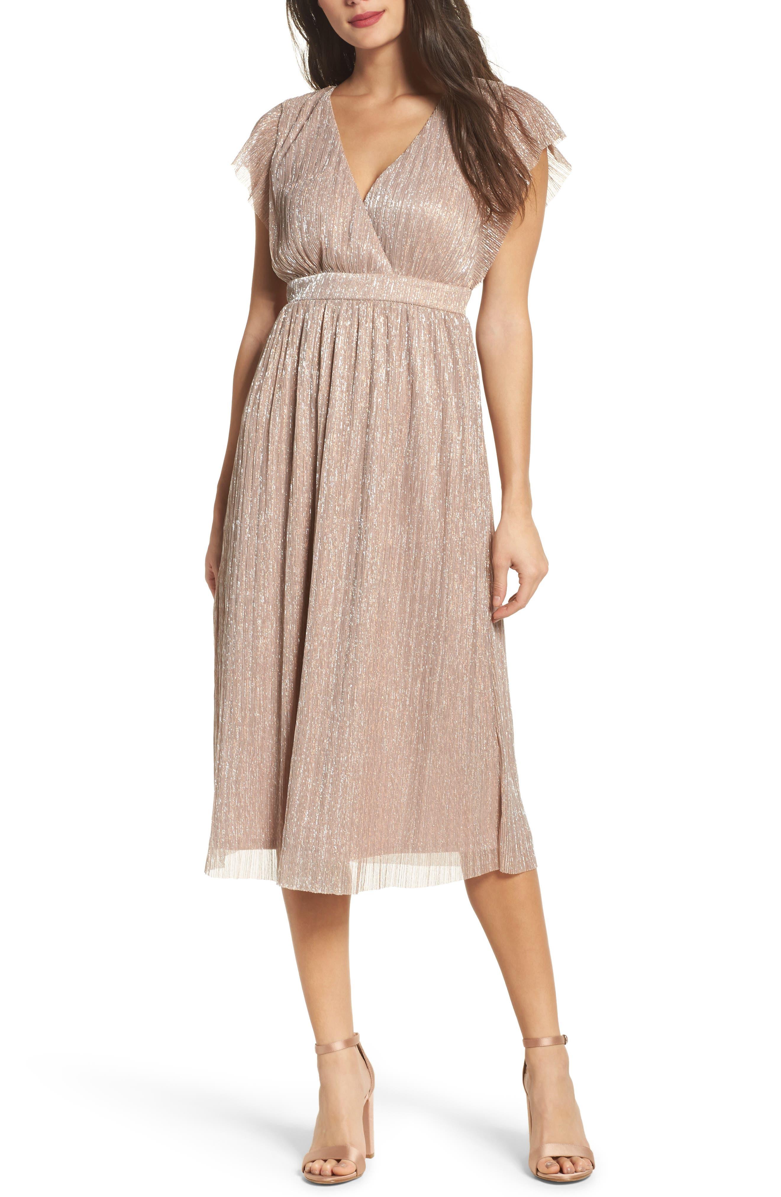 Metallic Midi Dress,                         Main,                         color, Rose Metallic