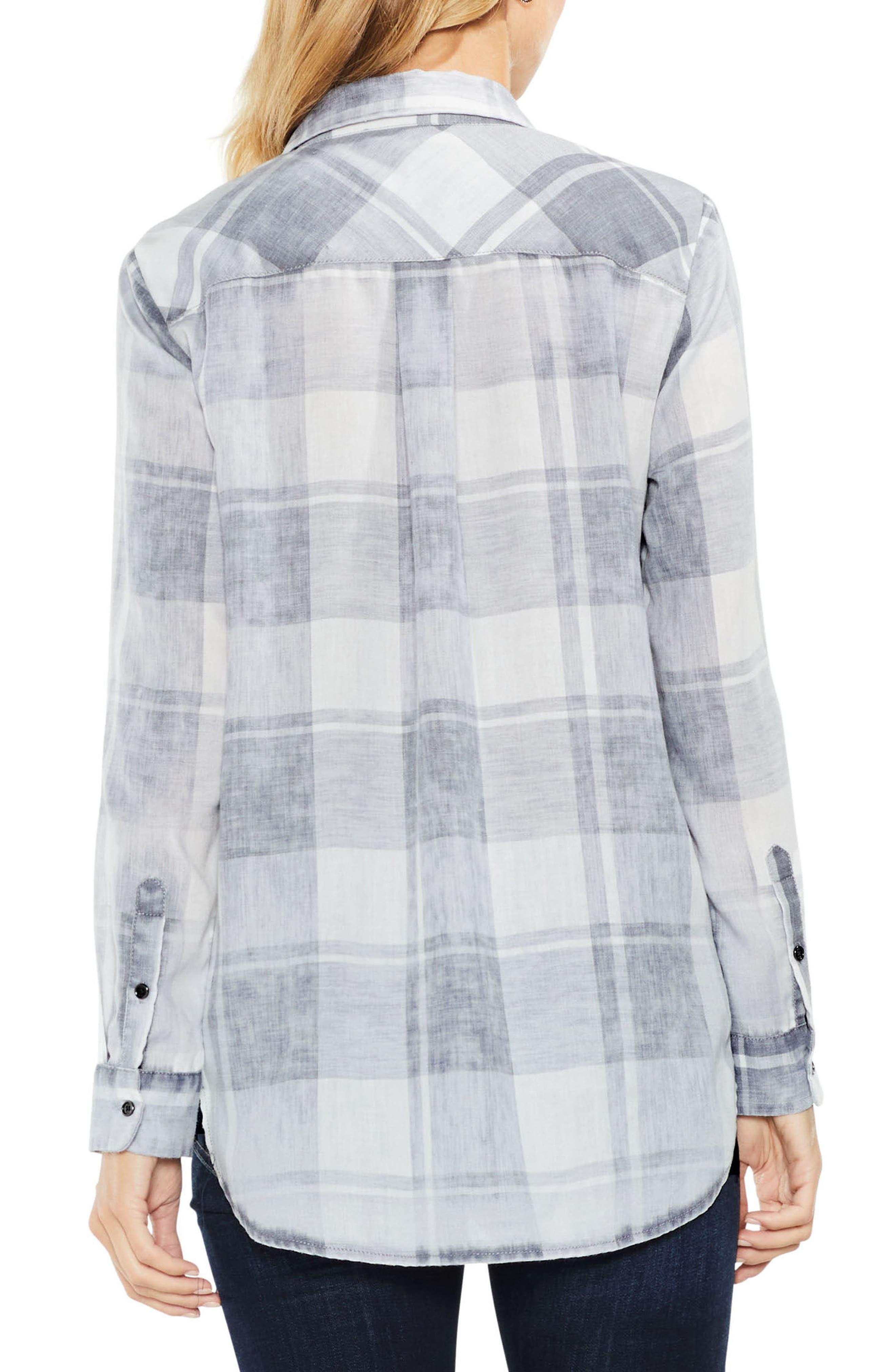 Quaint Plaid Button Down Shirt,                             Alternate thumbnail 2, color,                             Grey Heather