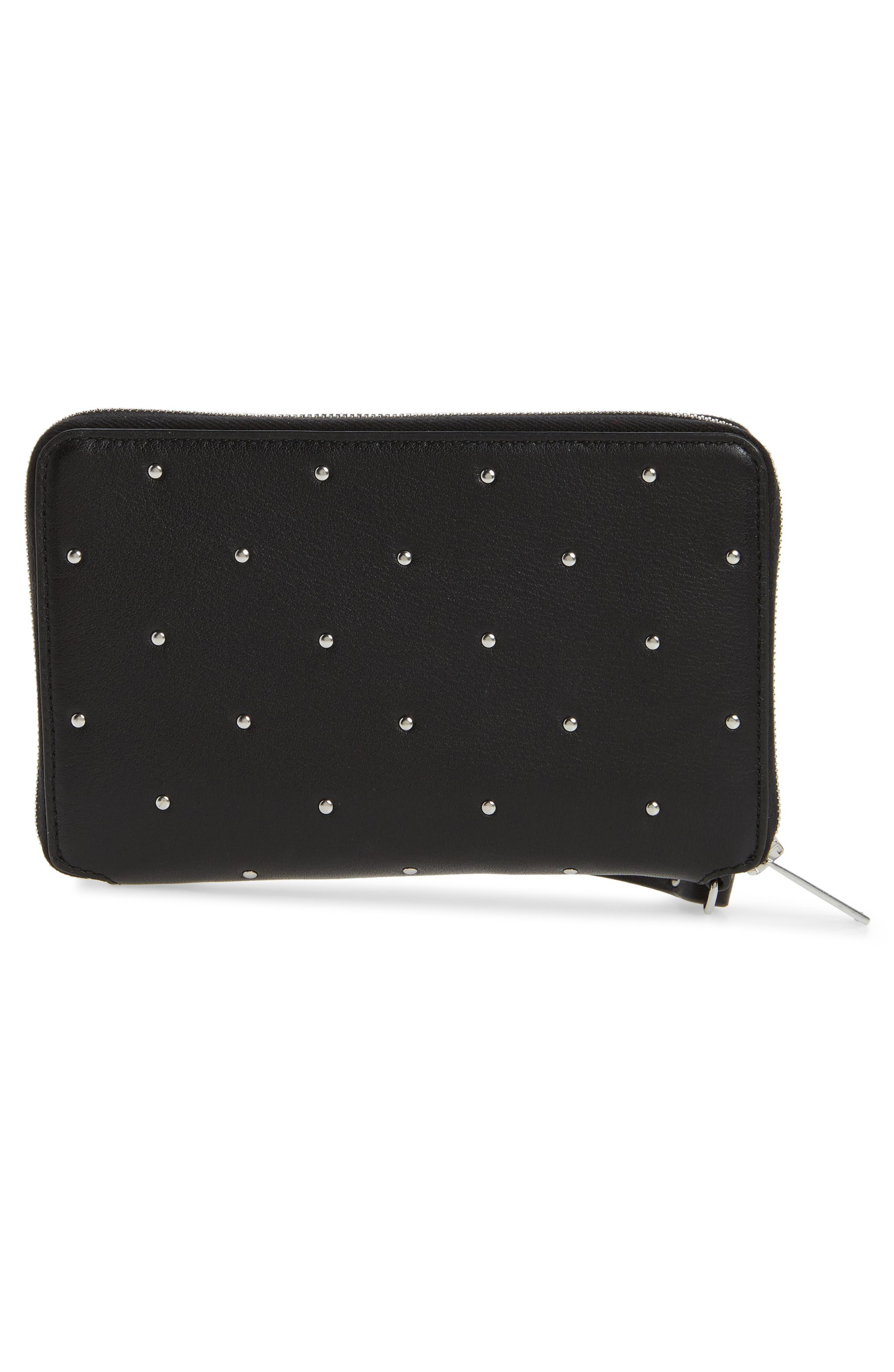 Studded Leather Smartphone Wallet,                             Alternate thumbnail 4, color,                             Black Studs