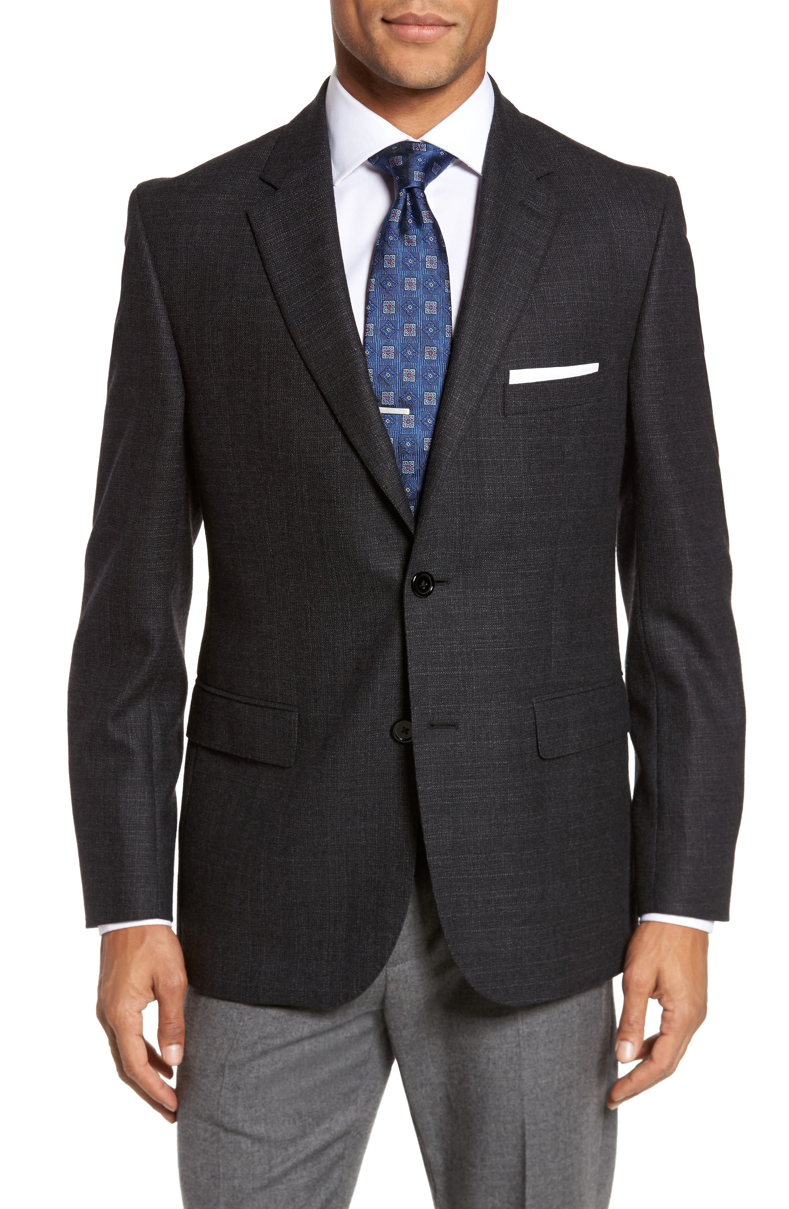 Classic Fit Wool Blazer,                         Main,                         color, Charcoal
