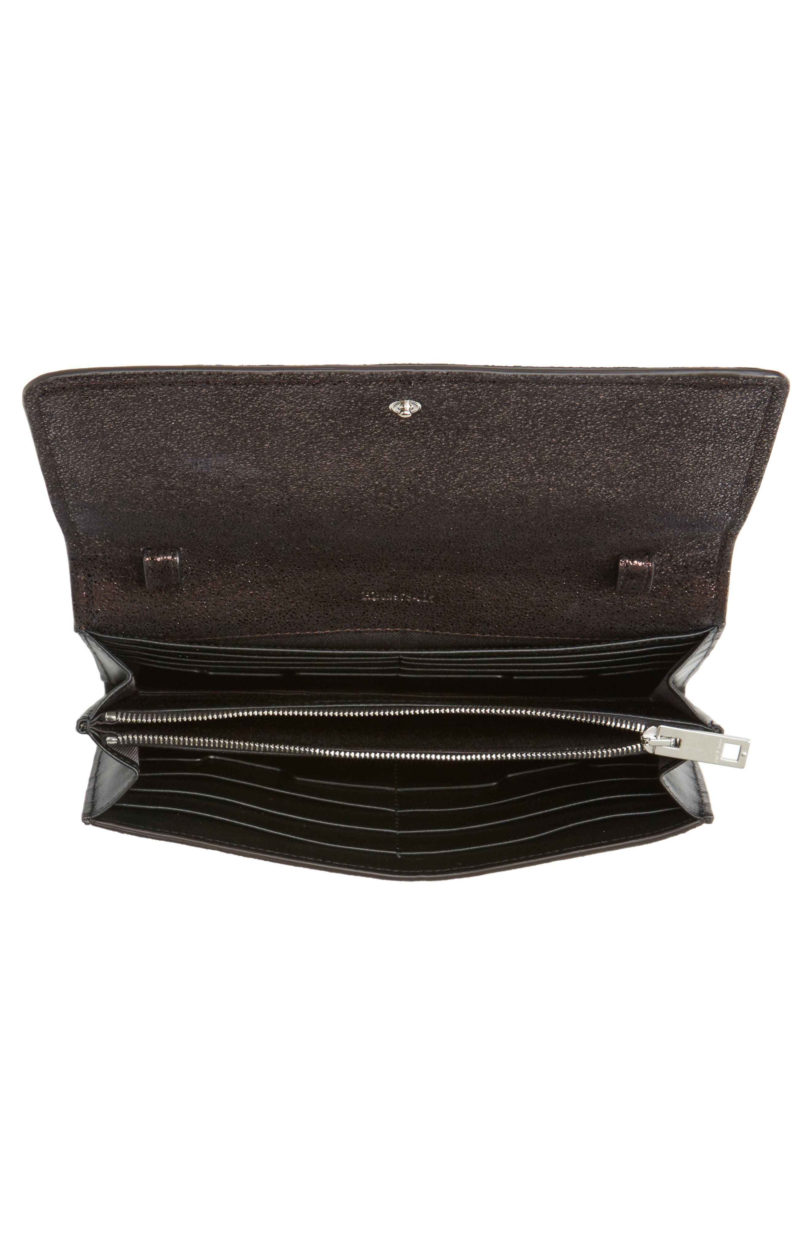 Metallic Leather Crossbody Wallet,                             Alternate thumbnail 4, color,                             Copper