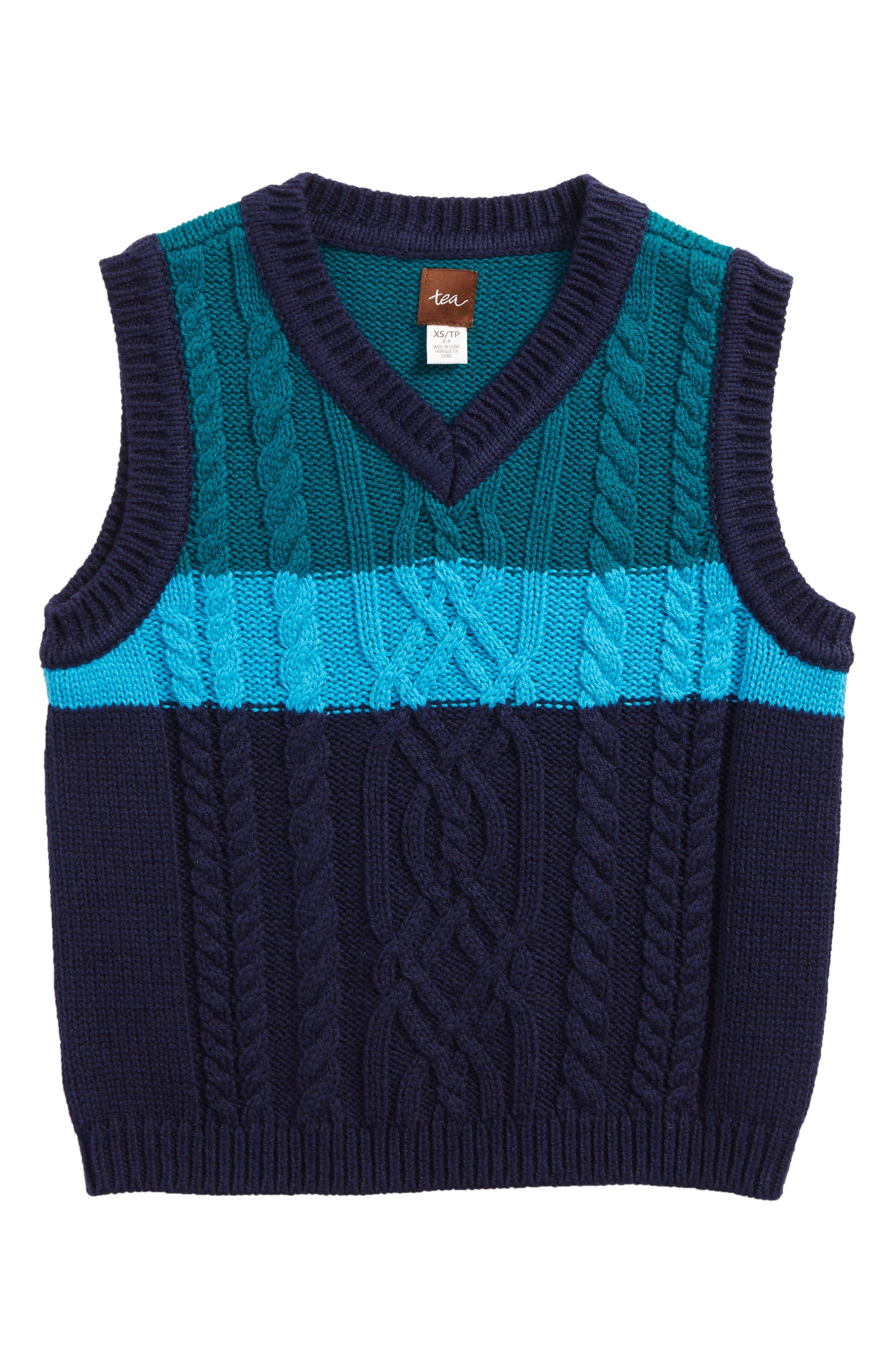 Alternate Image 1 Selected - Tea Collection Edan Cable Knit Sweater Vest (Toddler Boys, Little Boys & Big Boys)