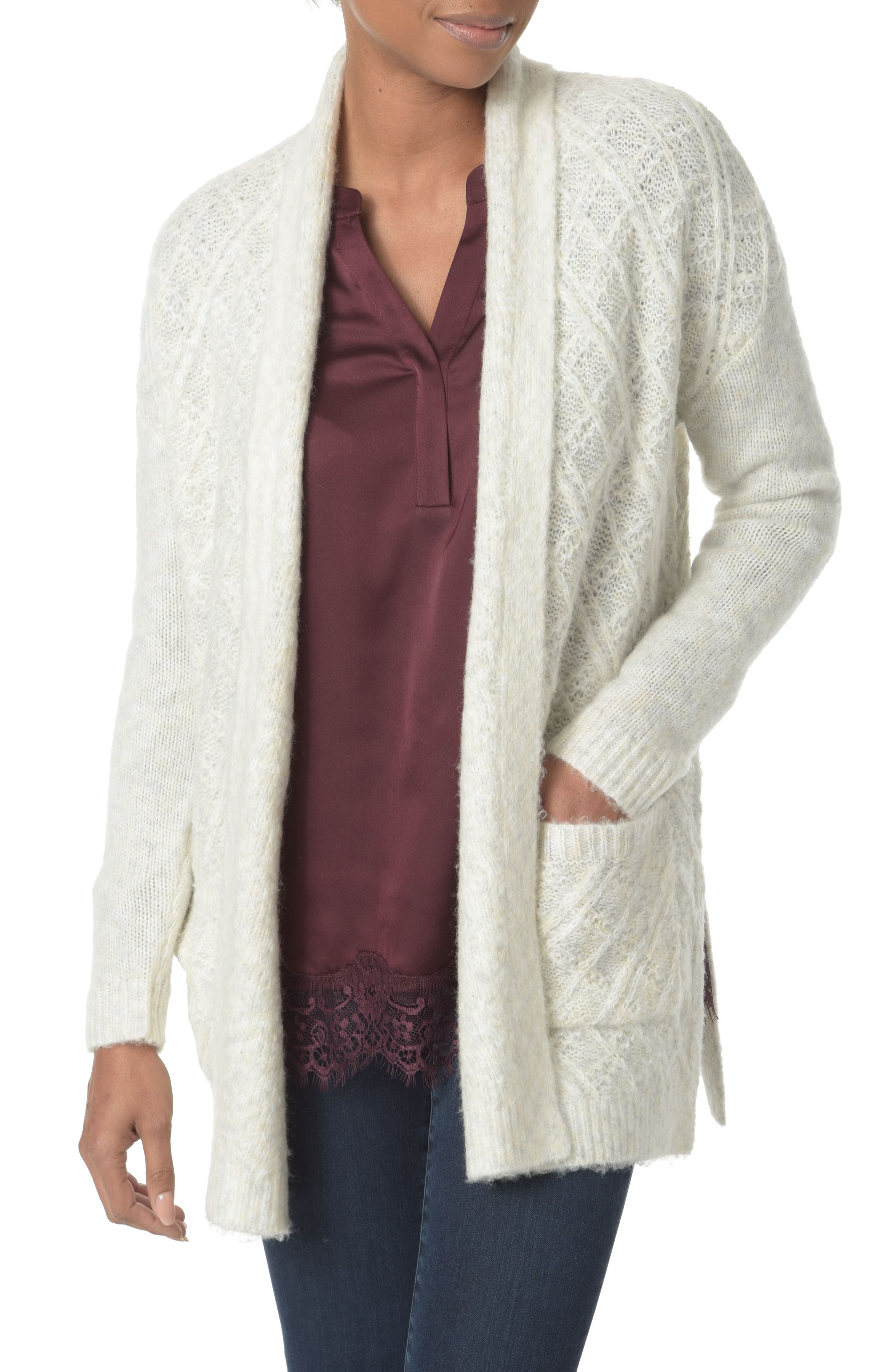 Novelty Wrap Open Front Cardigan,                         Main,                         color, Space Dye Vanilla