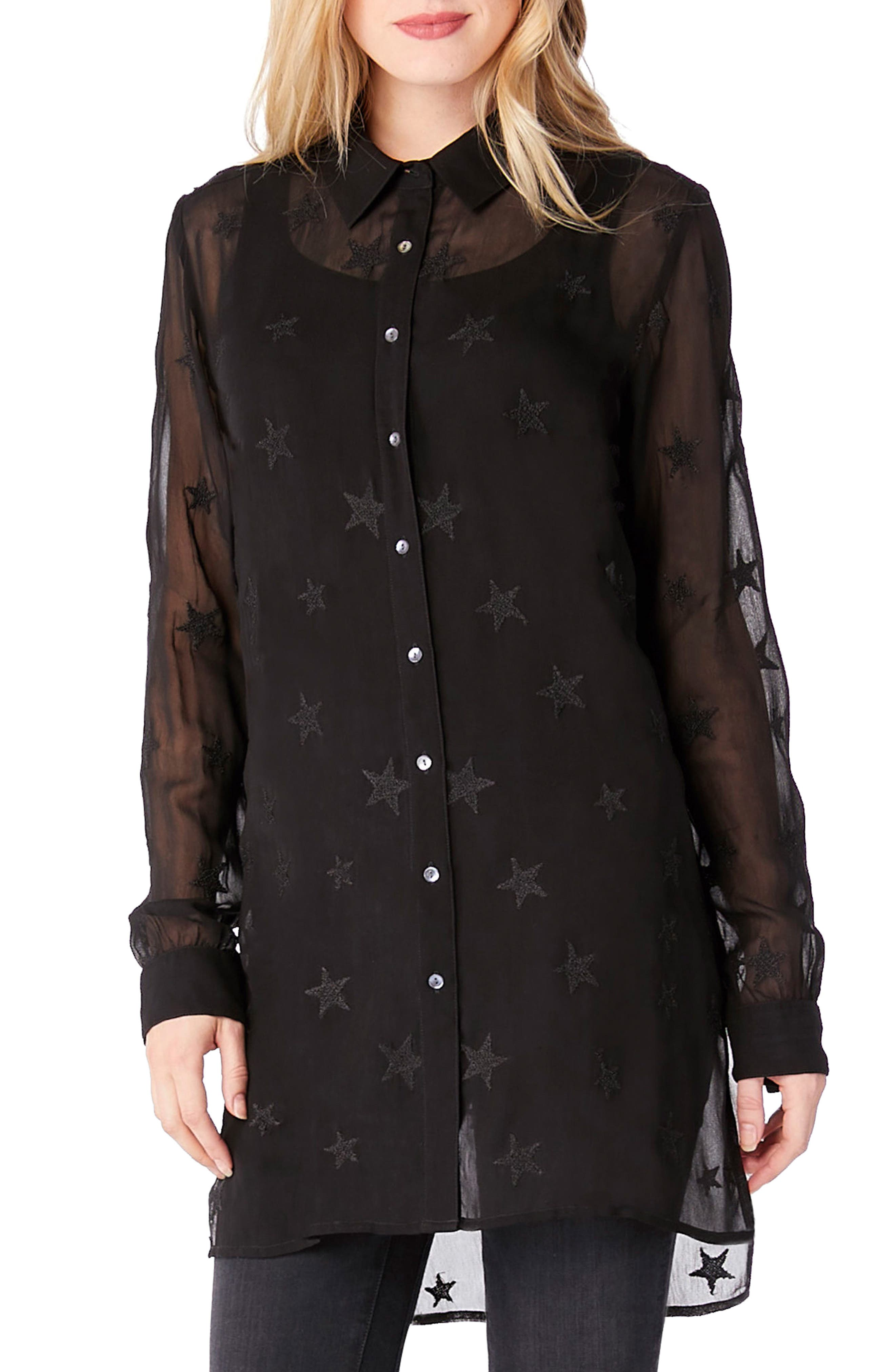 Star Embroidered Button-Up Shirt,                             Main thumbnail 1, color,                             Black