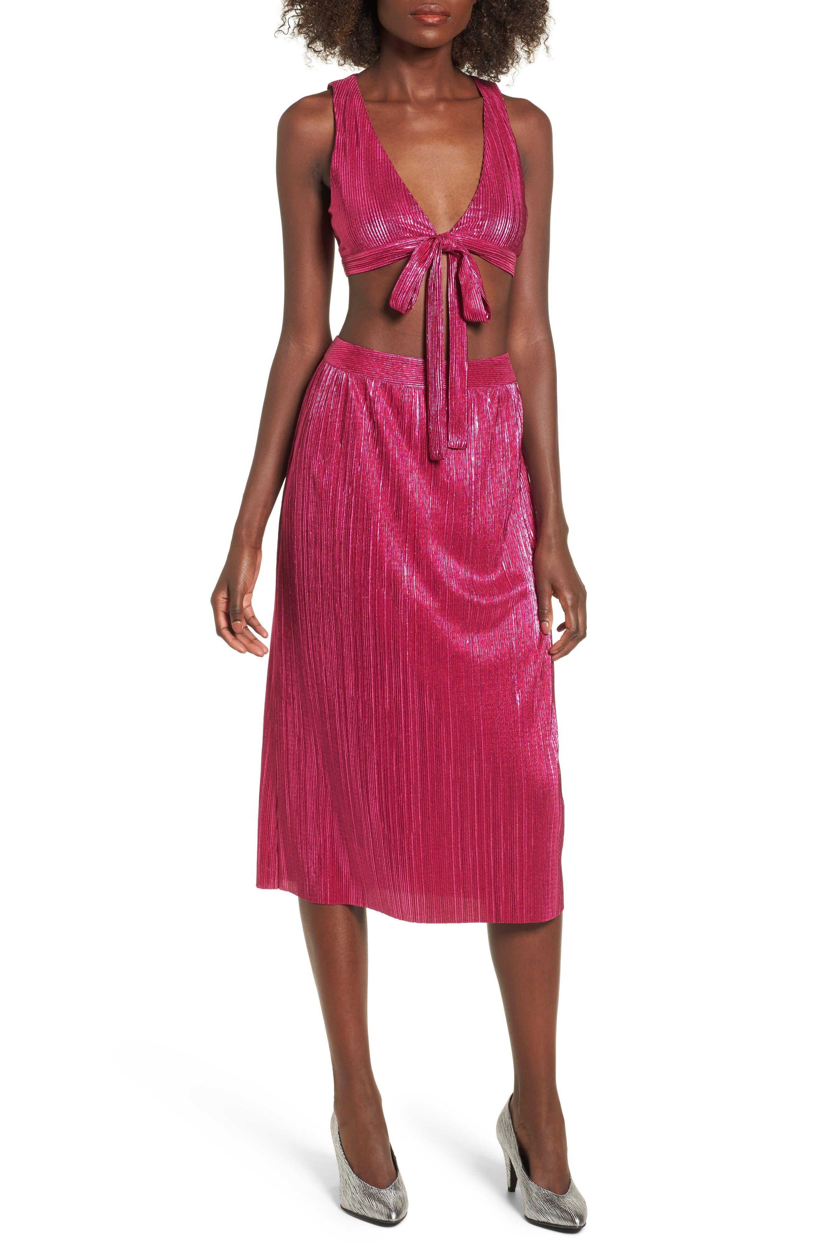 Marion Tie Crop Top,                             Alternate thumbnail 2, color,                             Fuchsia