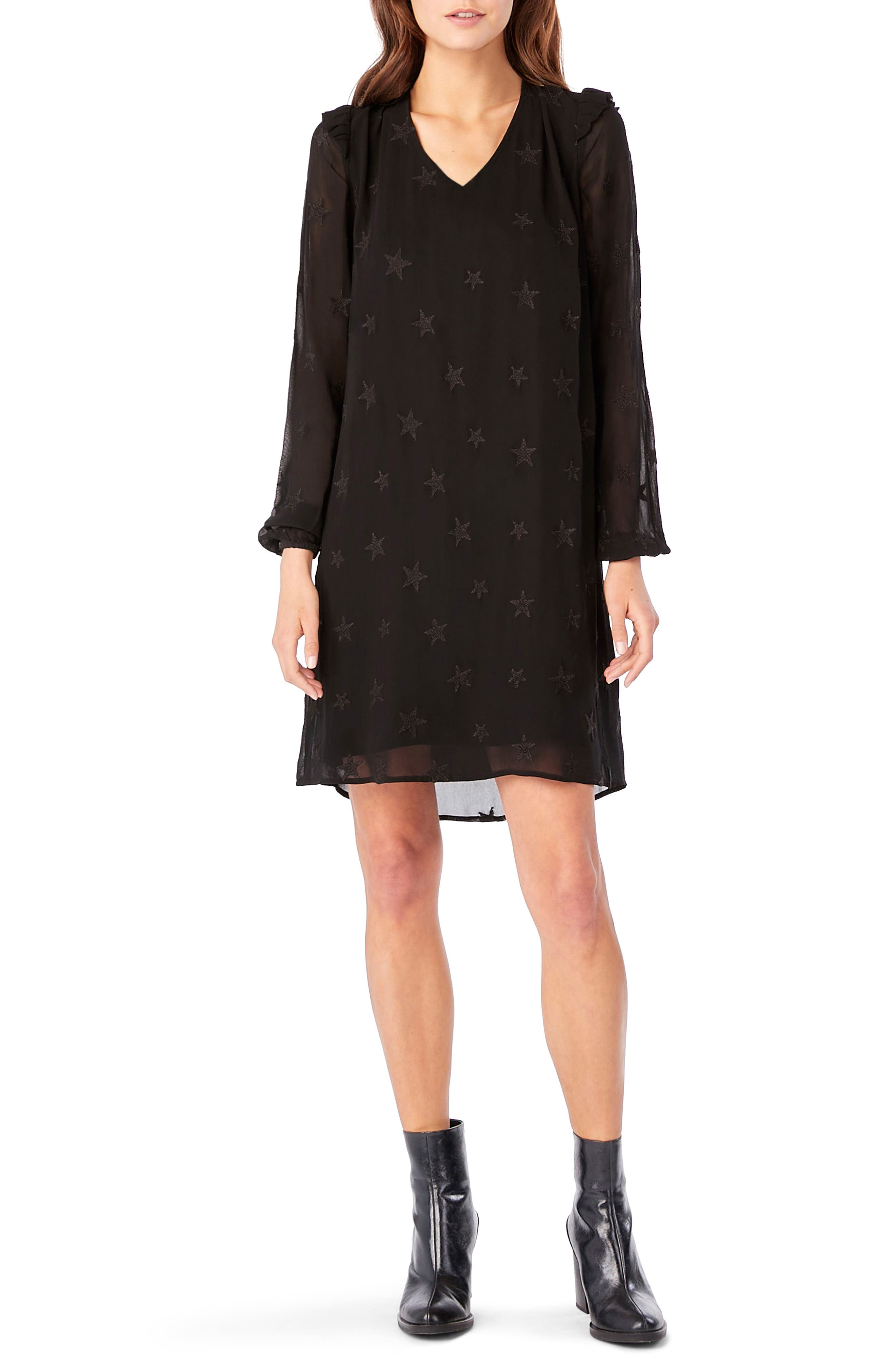 Embroidered Star Ruffle Shift Dress,                             Main thumbnail 1, color,                             Black