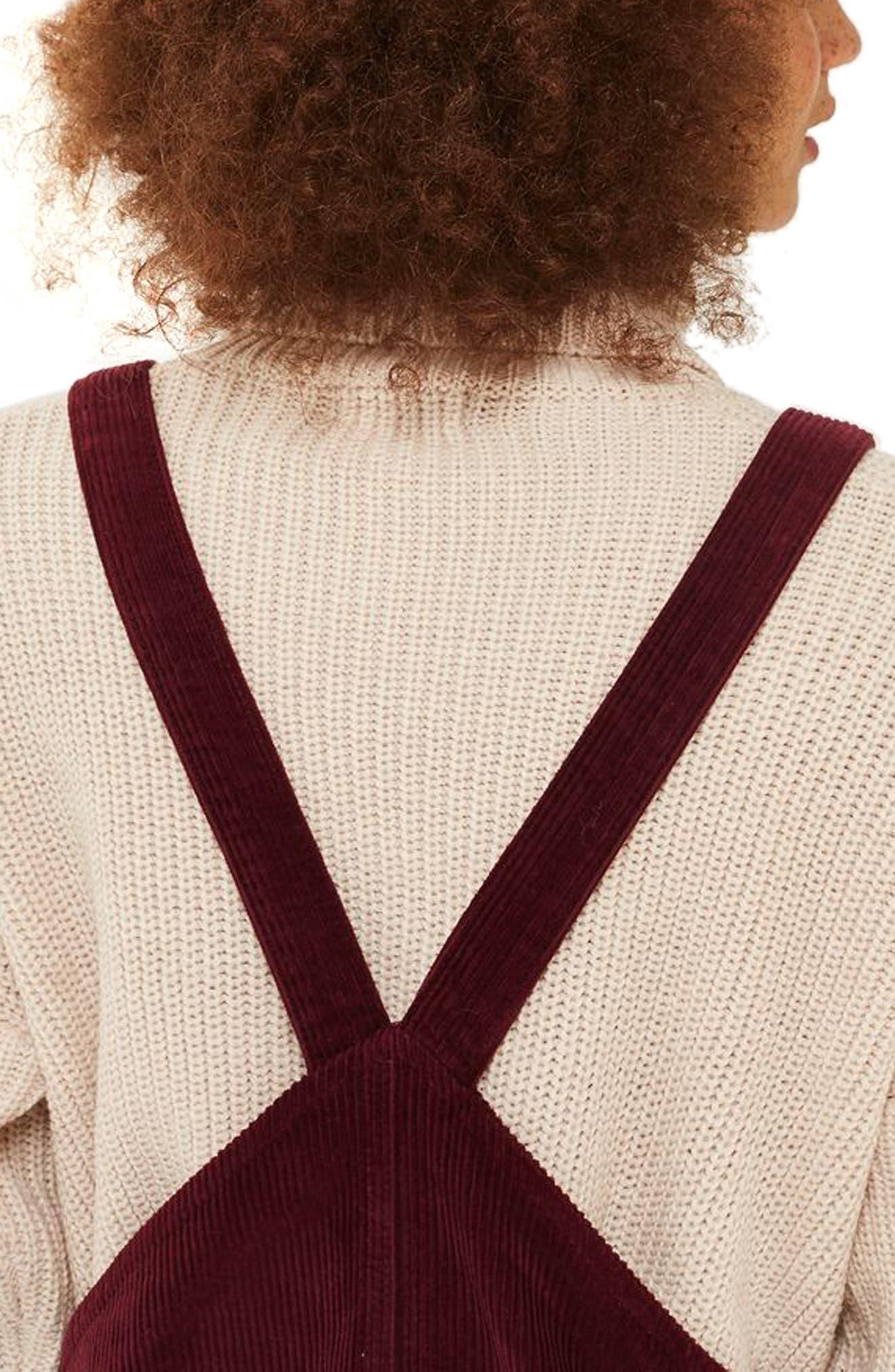Corduroy Pinafore Dress,                             Alternate thumbnail 2, color,                             Burgundy