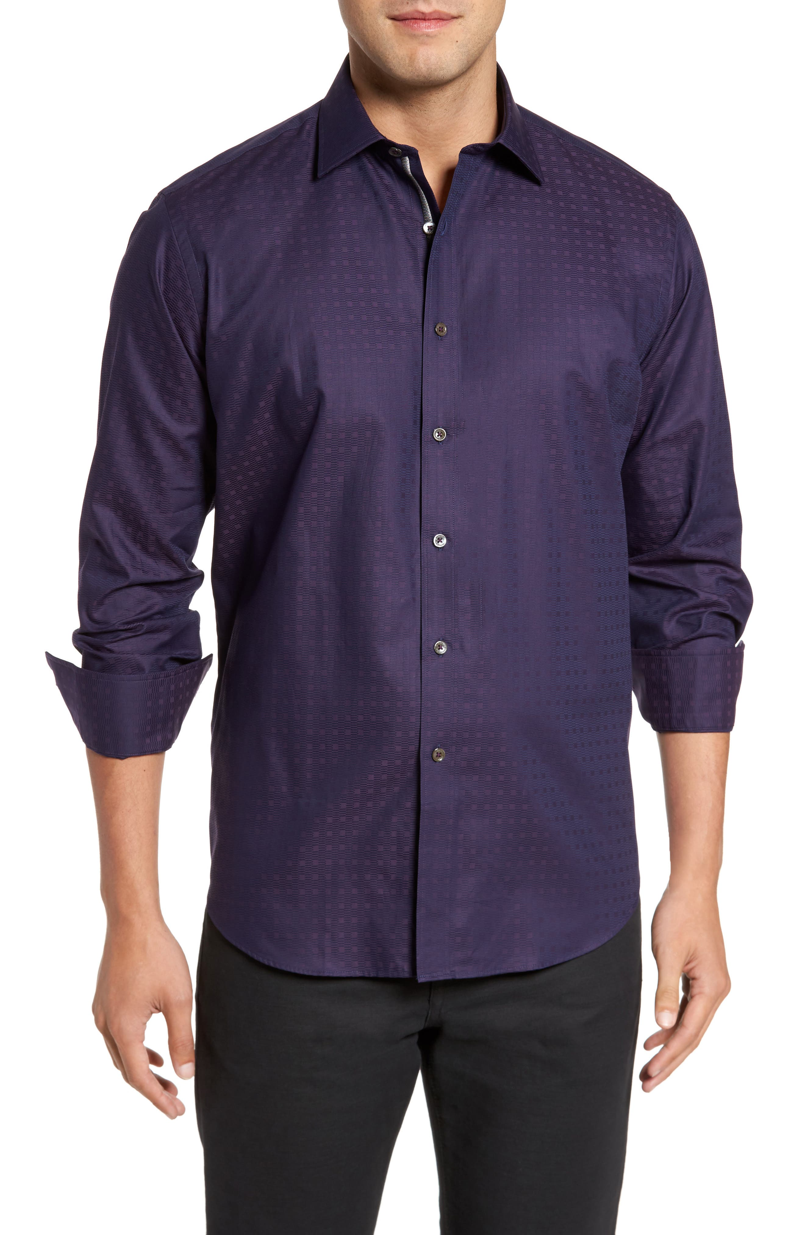 Classic Fit Geo Jacquard Sport Shirt,                             Main thumbnail 1, color,                             Plum