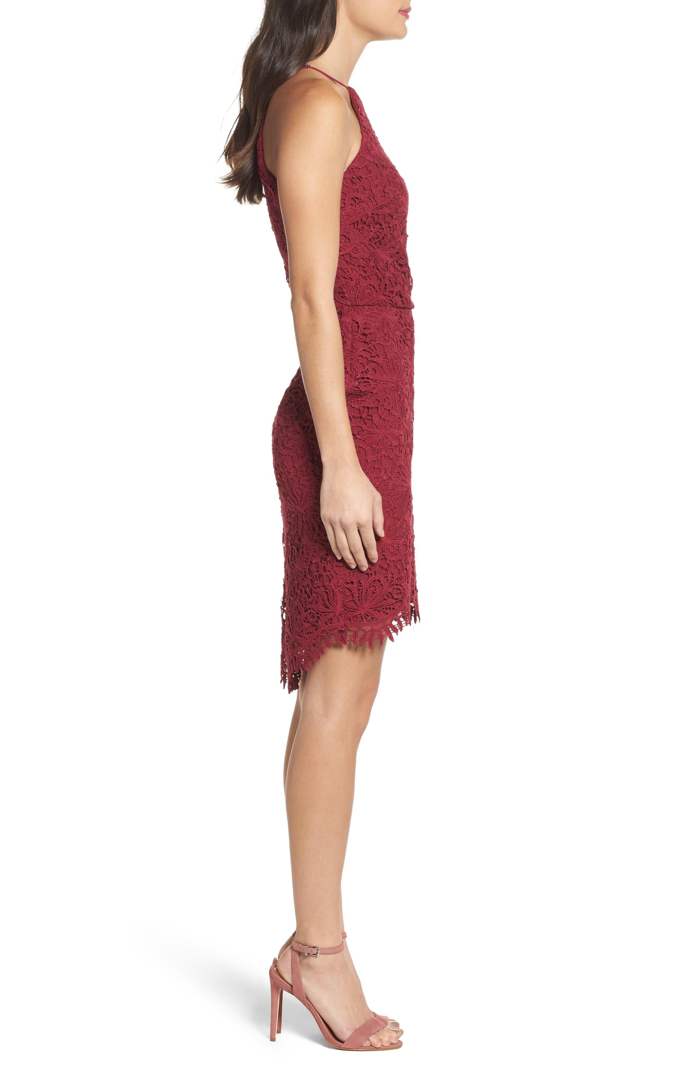 Louise Sheath Dress,                             Alternate thumbnail 3, color,                             Claret