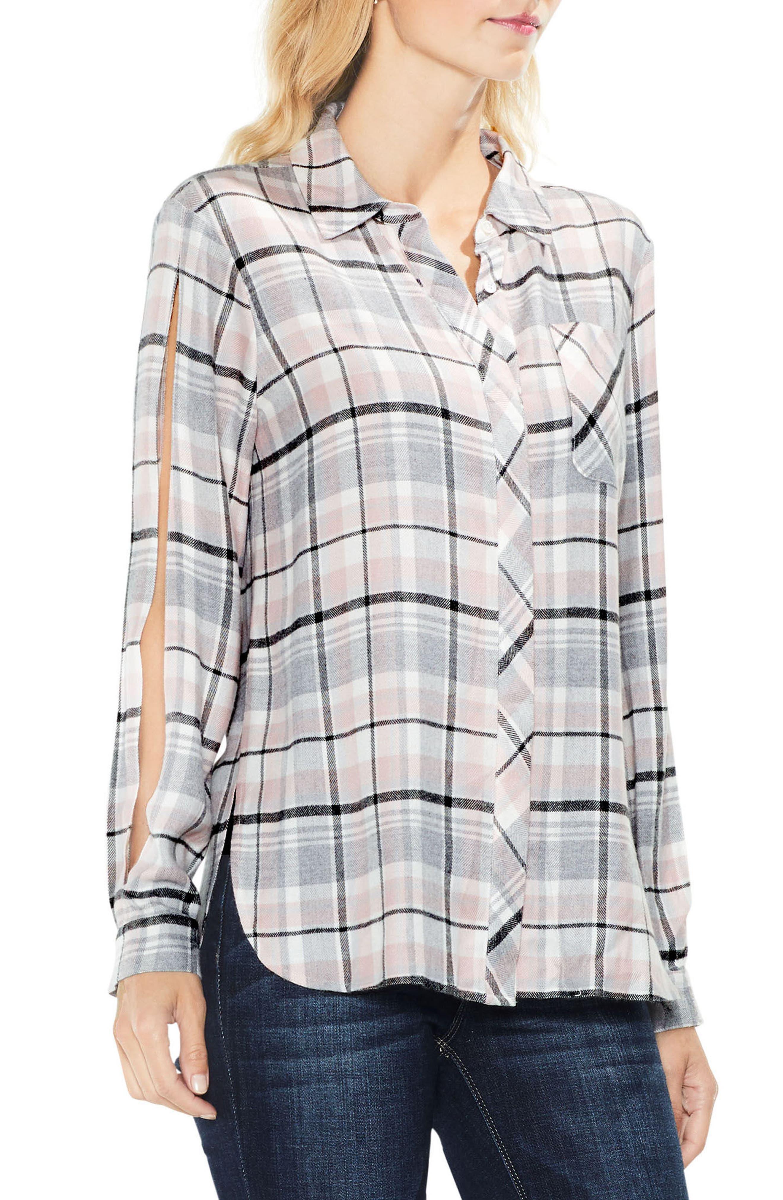 Split Sleeve Rustic Plaid Top,                         Main,                         color, Violette