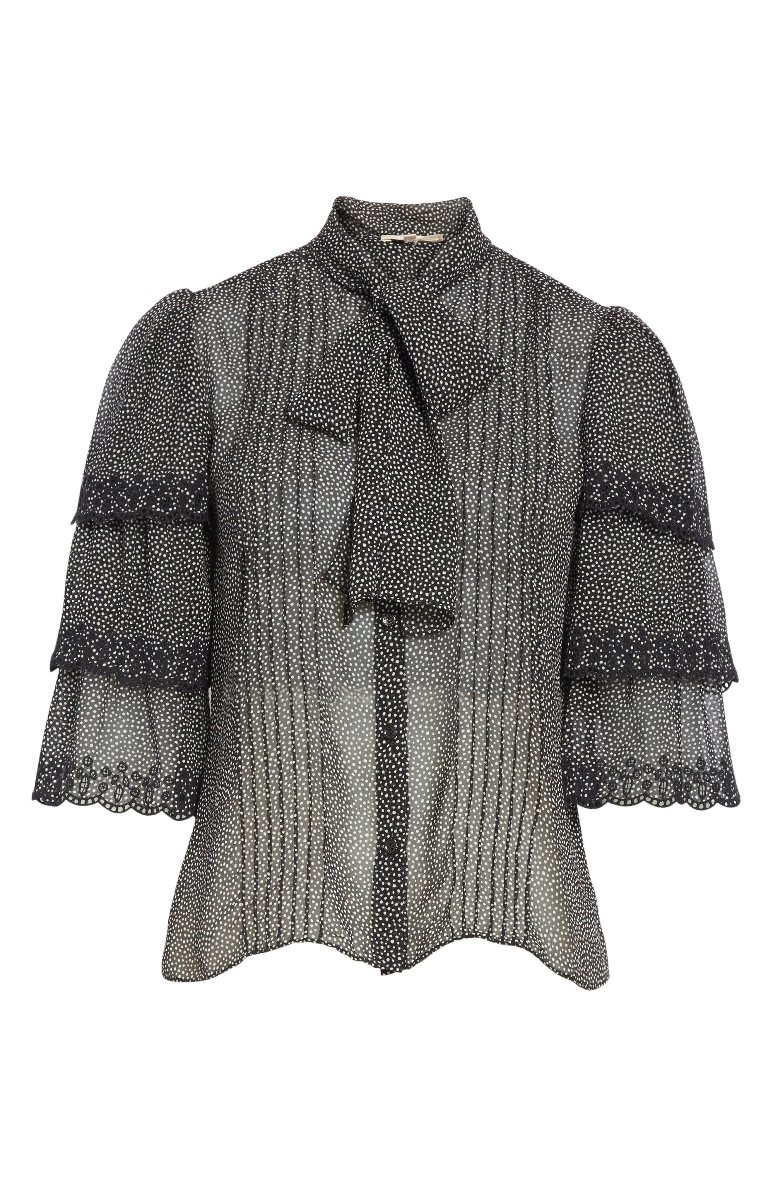 Alternate Image 6  - Rebecca Taylor Tie Neck Tiered Sleeve Silk Blouse