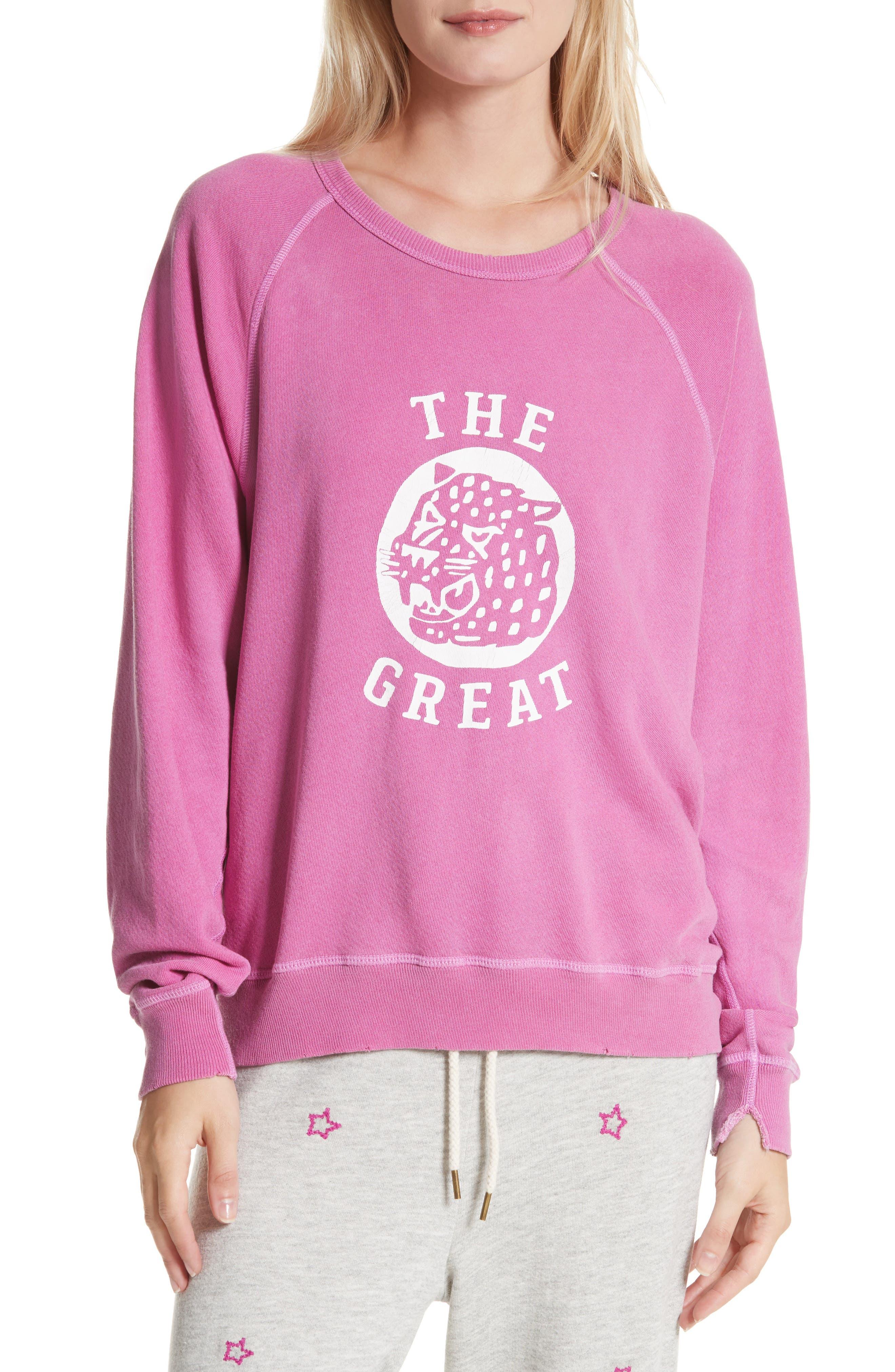 The College Sweatshirt,                         Main,                         color, Thistle W/ Jaguar Graphic