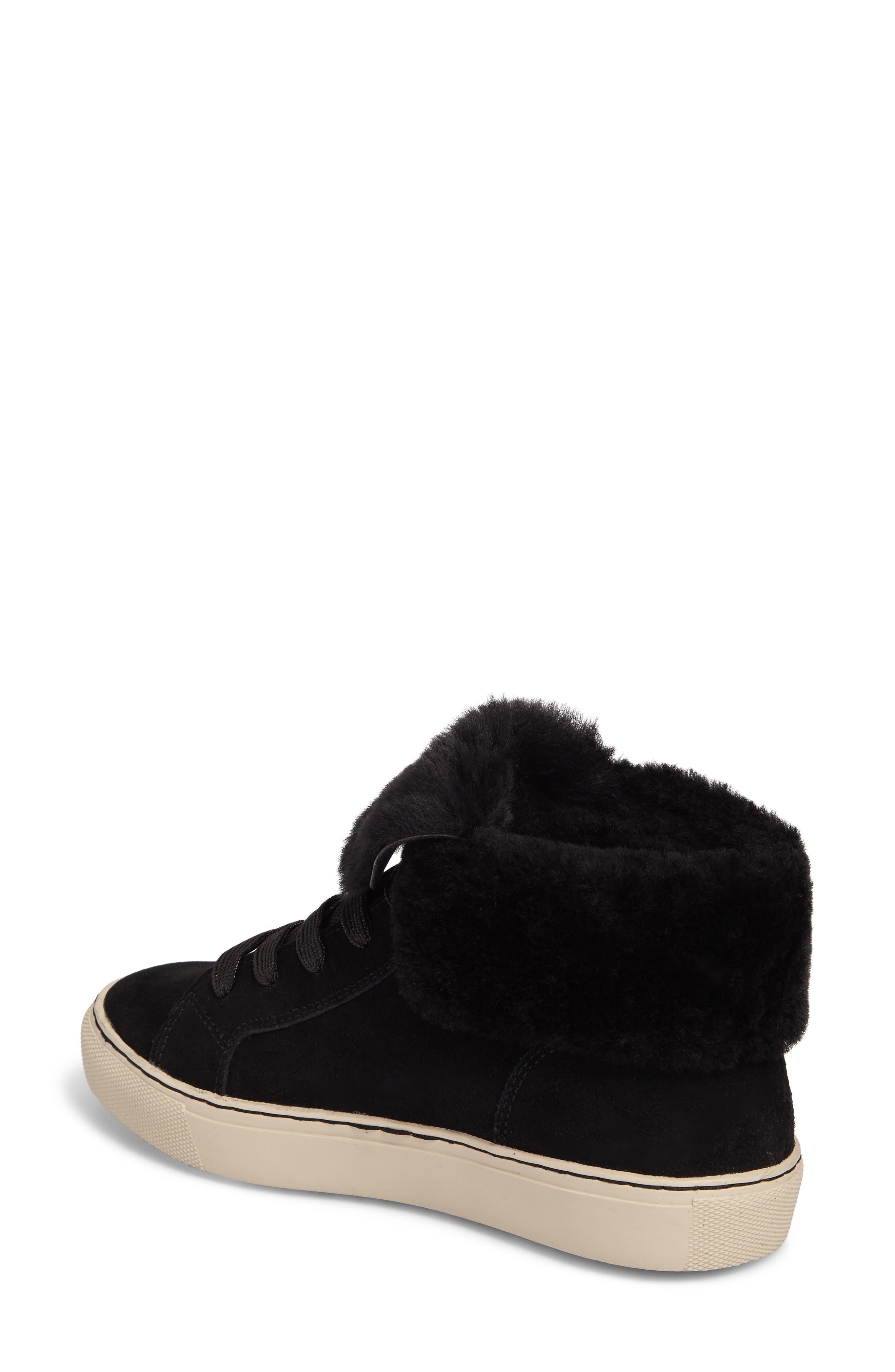 Downey Waterproof Genuine Shearling Sneaker,                             Alternate thumbnail 2, color,                             Black Suede