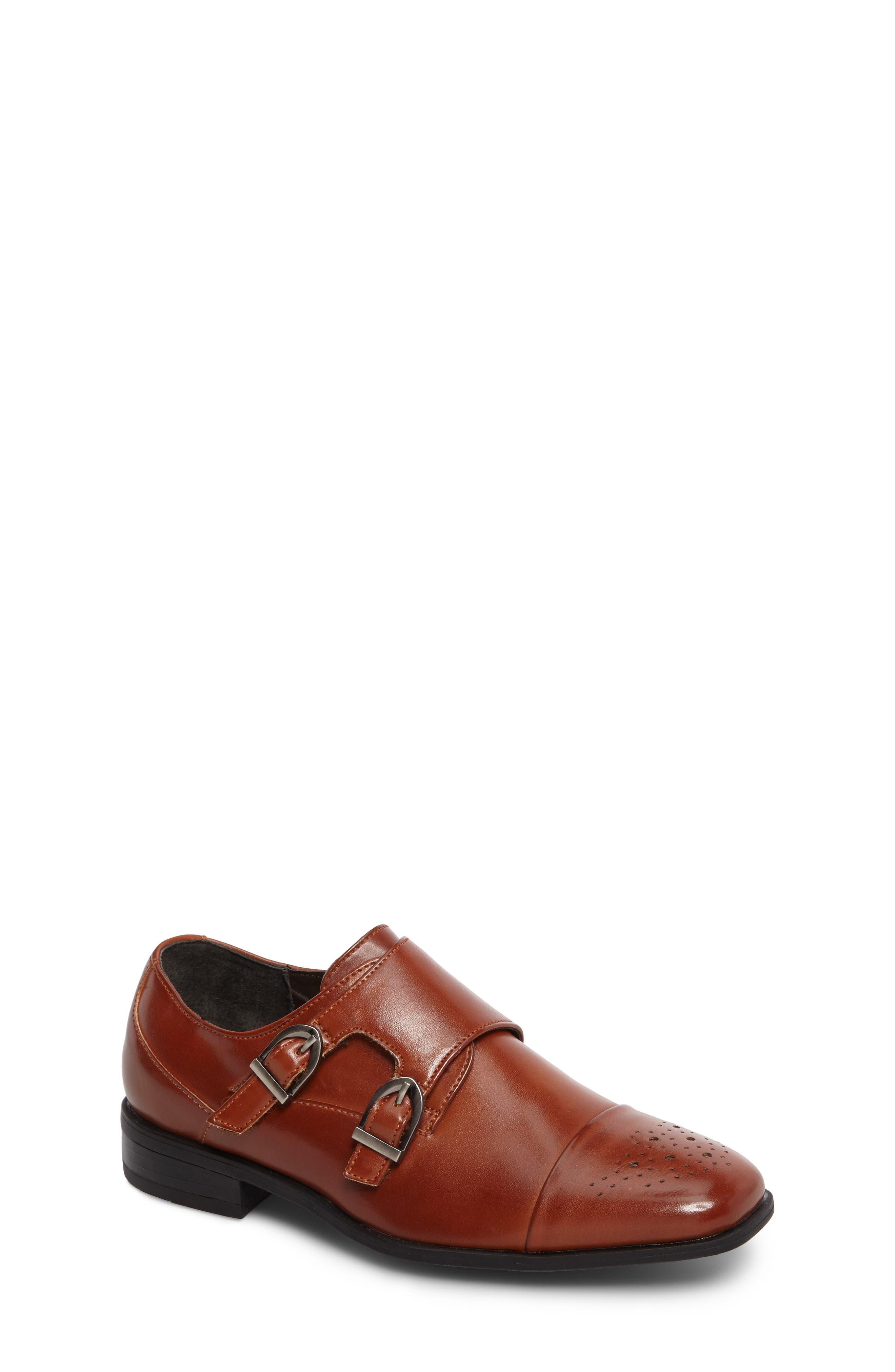 Trevor Cap Toe Monk Shoe,                         Main,                         color, Cognac