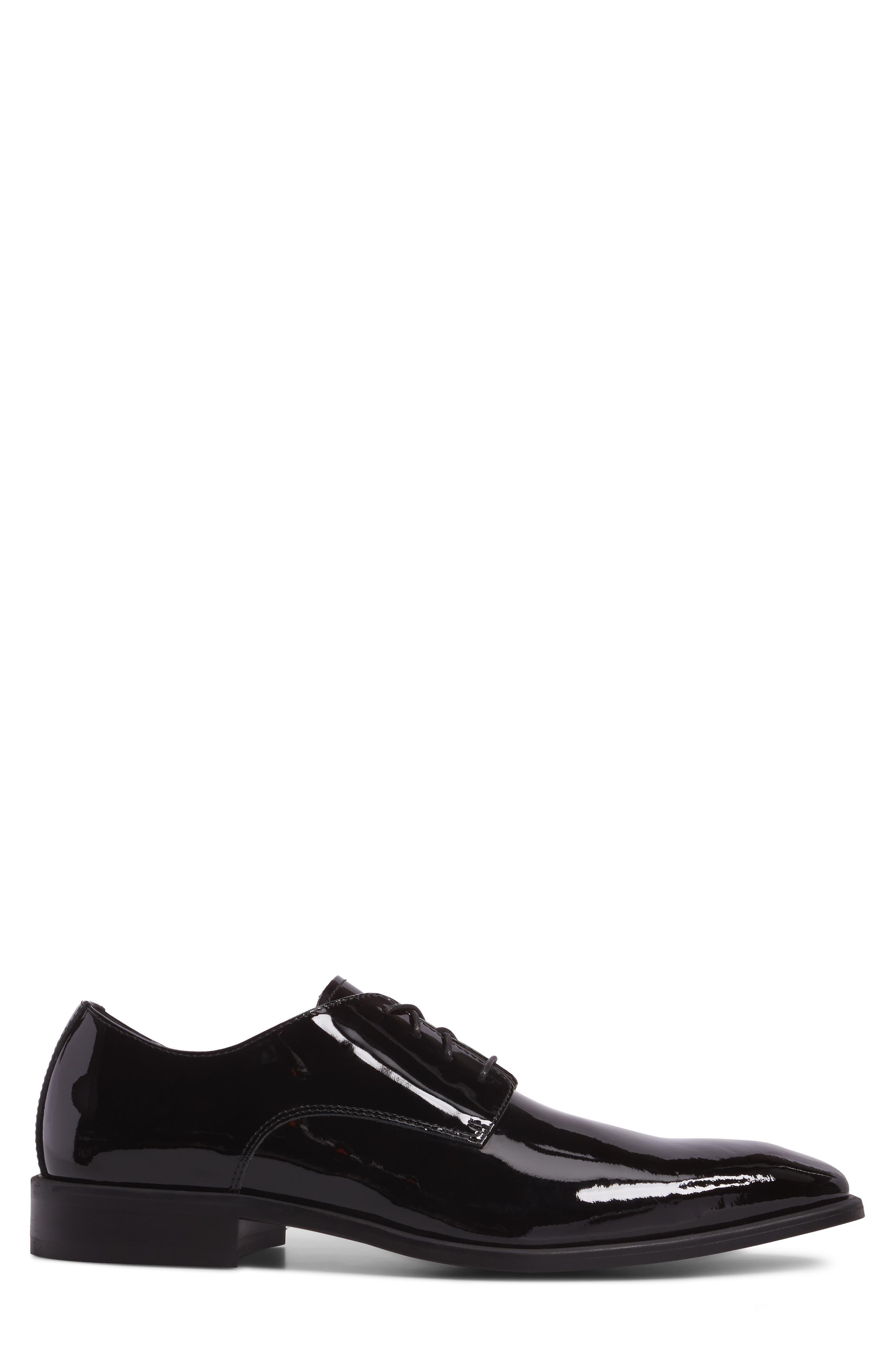 Dallas Plain Toe Derby,                             Alternate thumbnail 3, color,                             Black Patent Leather