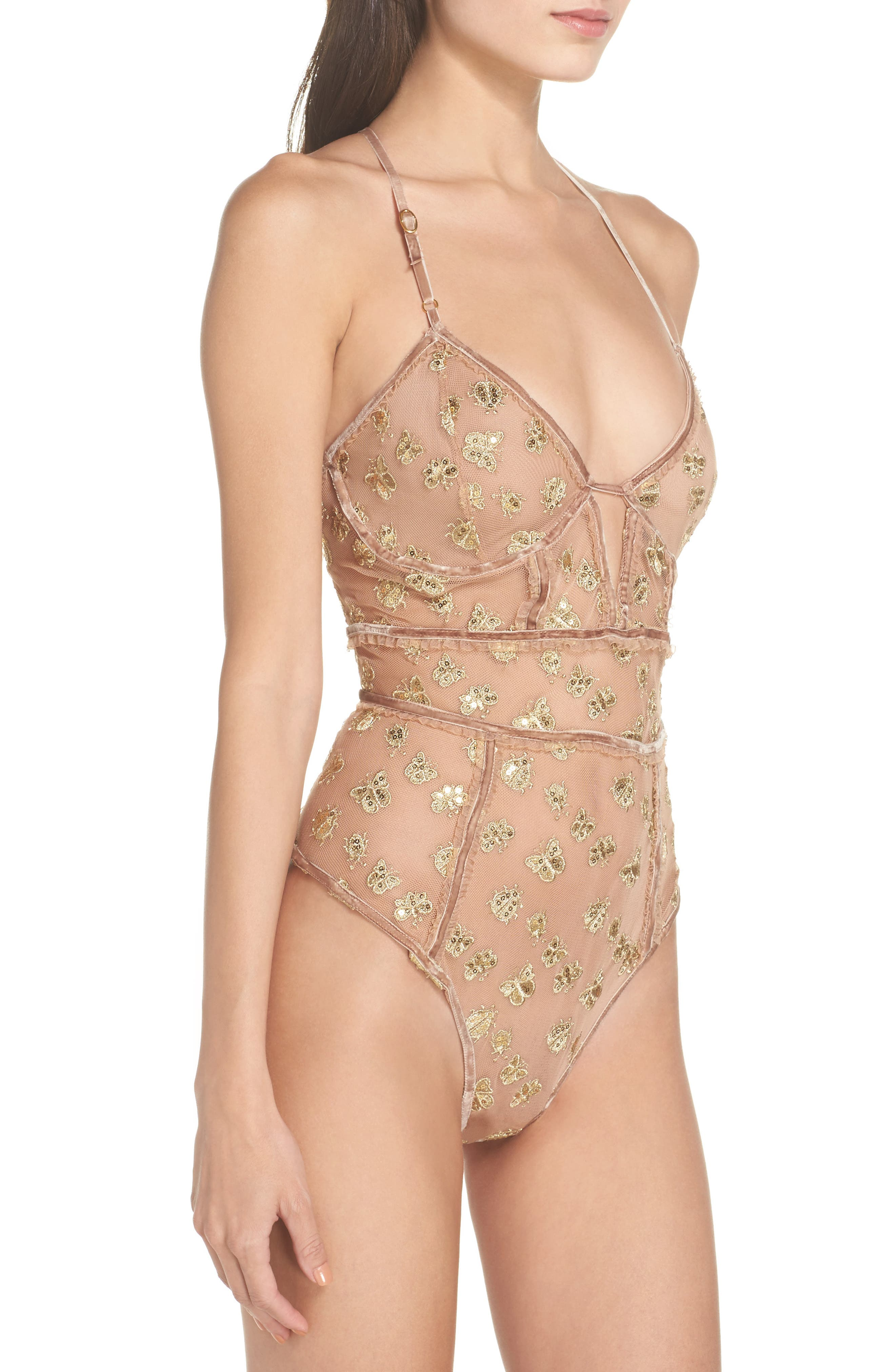 Golden Garden Embroidered Bodysuit,                             Alternate thumbnail 3, color,                             Bee