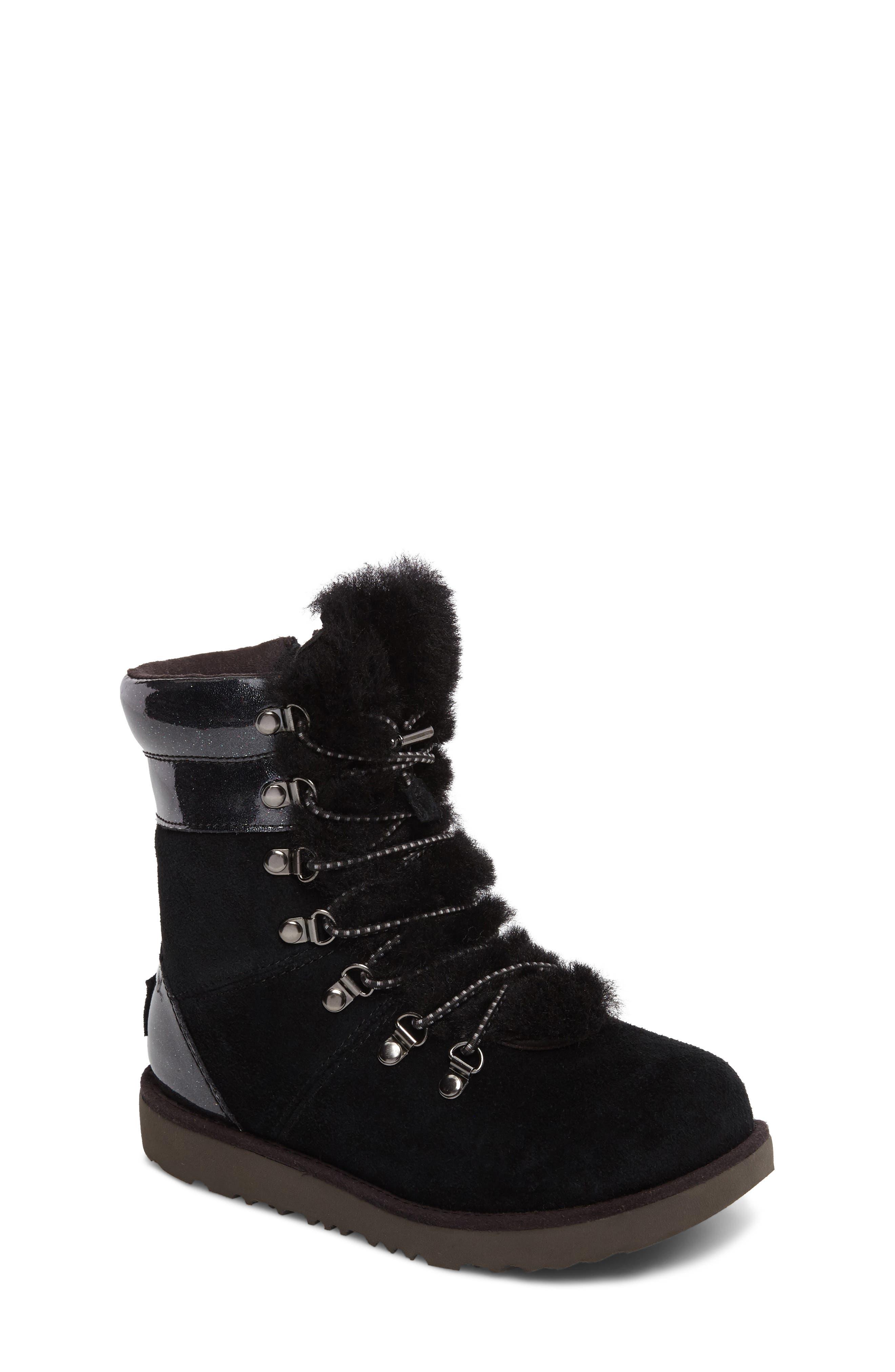 Viki Genuine Shearling Waterproof Bootie,                         Main,                         color, Black
