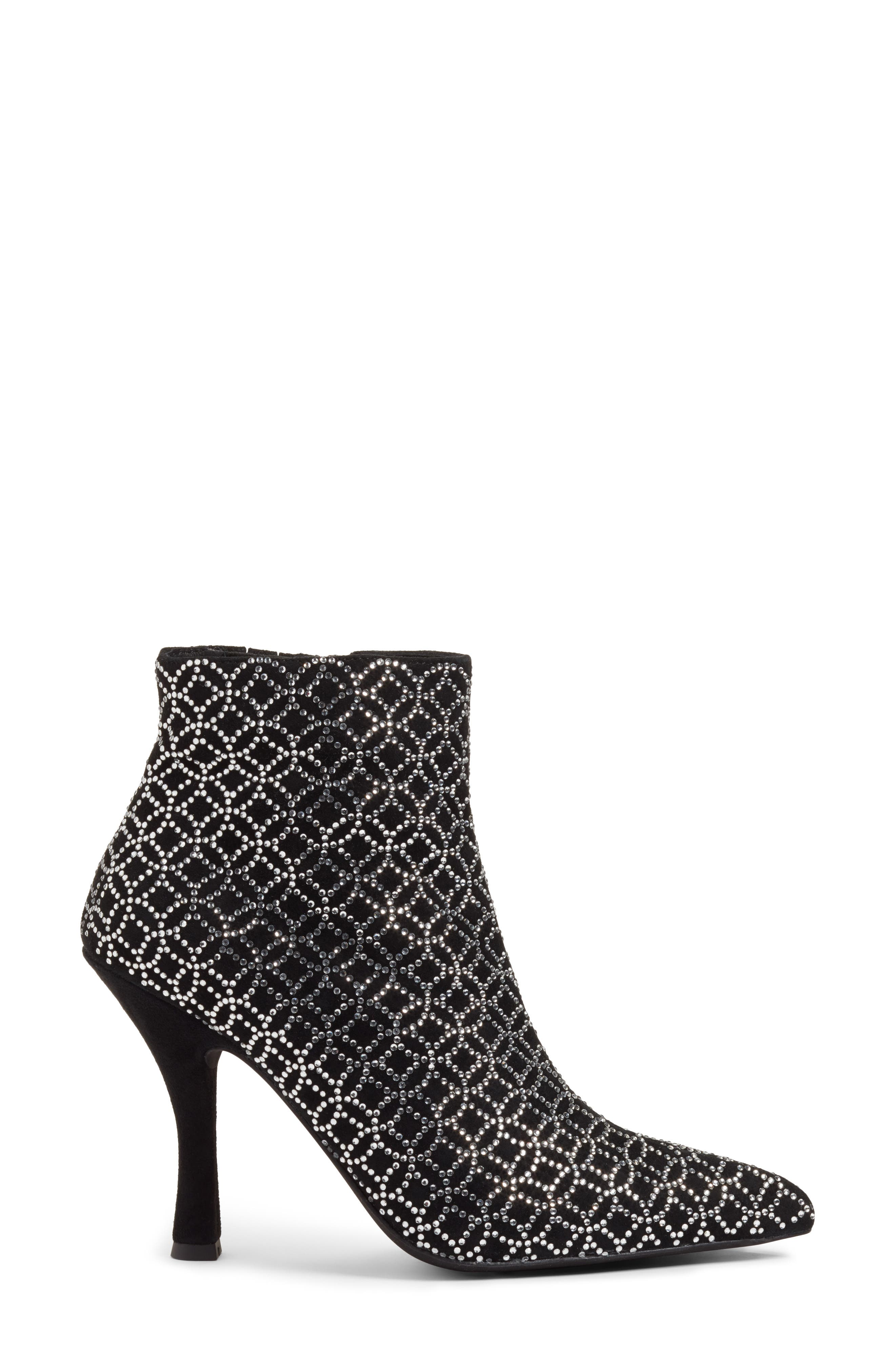 Brillo Crystal Embellished Bootie,                             Alternate thumbnail 4, color,                             Black Suede Silver